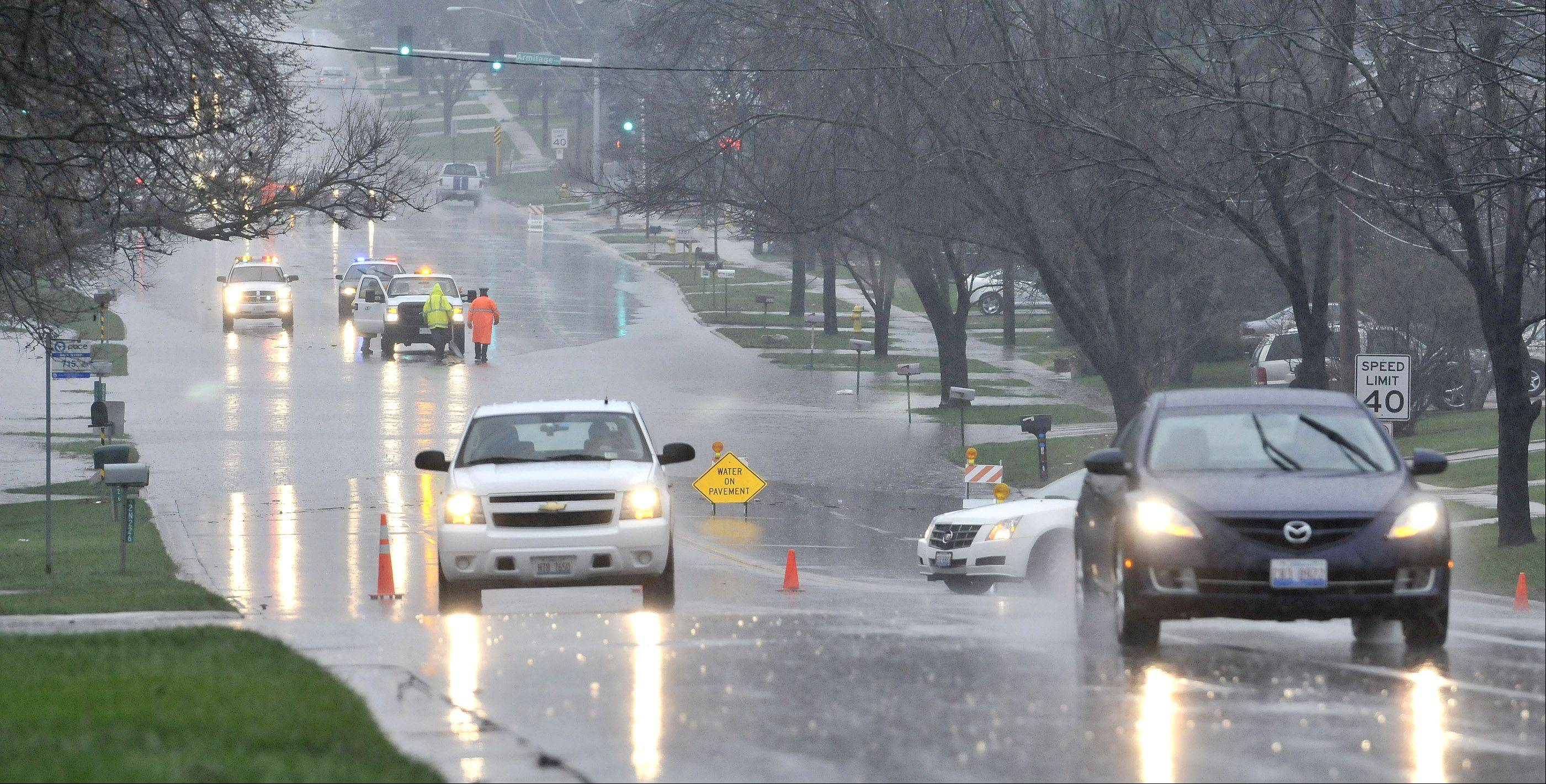 Glen Ellyn Rd, north of North Avenue in Glendale Heights was closed. Heavy rains overnight resulted in heavy flooding in the DuPage County area.