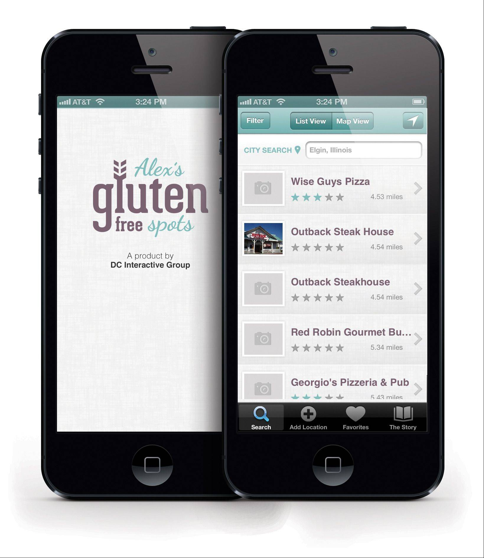 Elgin-based DC Interactive Group, a web design and marketing agency, launched Alex's Gluten Free Spots, a new iPhone app. It was created by the agency's owner, Charles Falls of St. Charles.