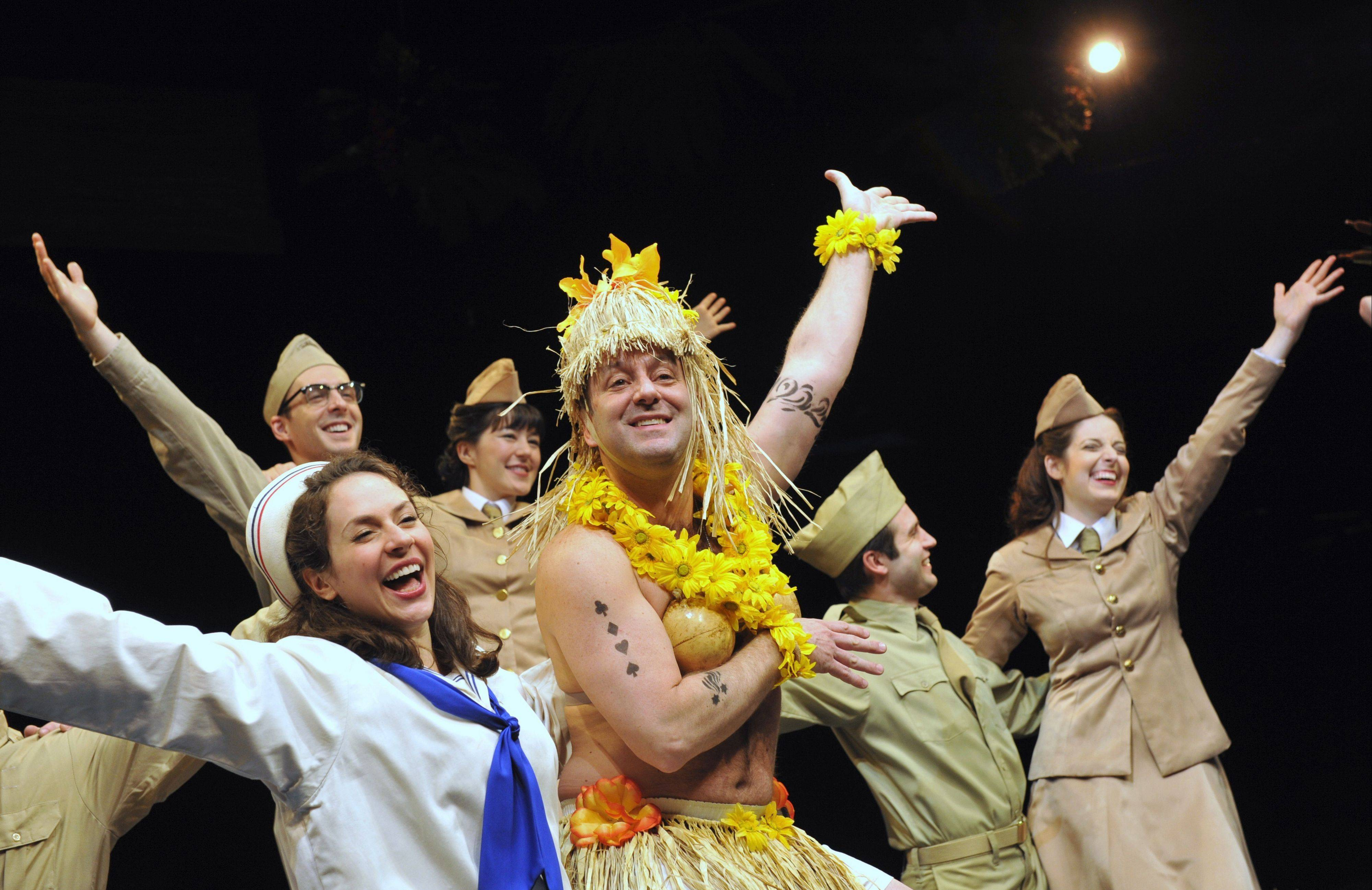 "Nellie (Elizabeth Lanza, left) and her Honey Bun (Stef Tovar, second from left) entertain the troops in Marriott Theatre's ""South Pacific."""
