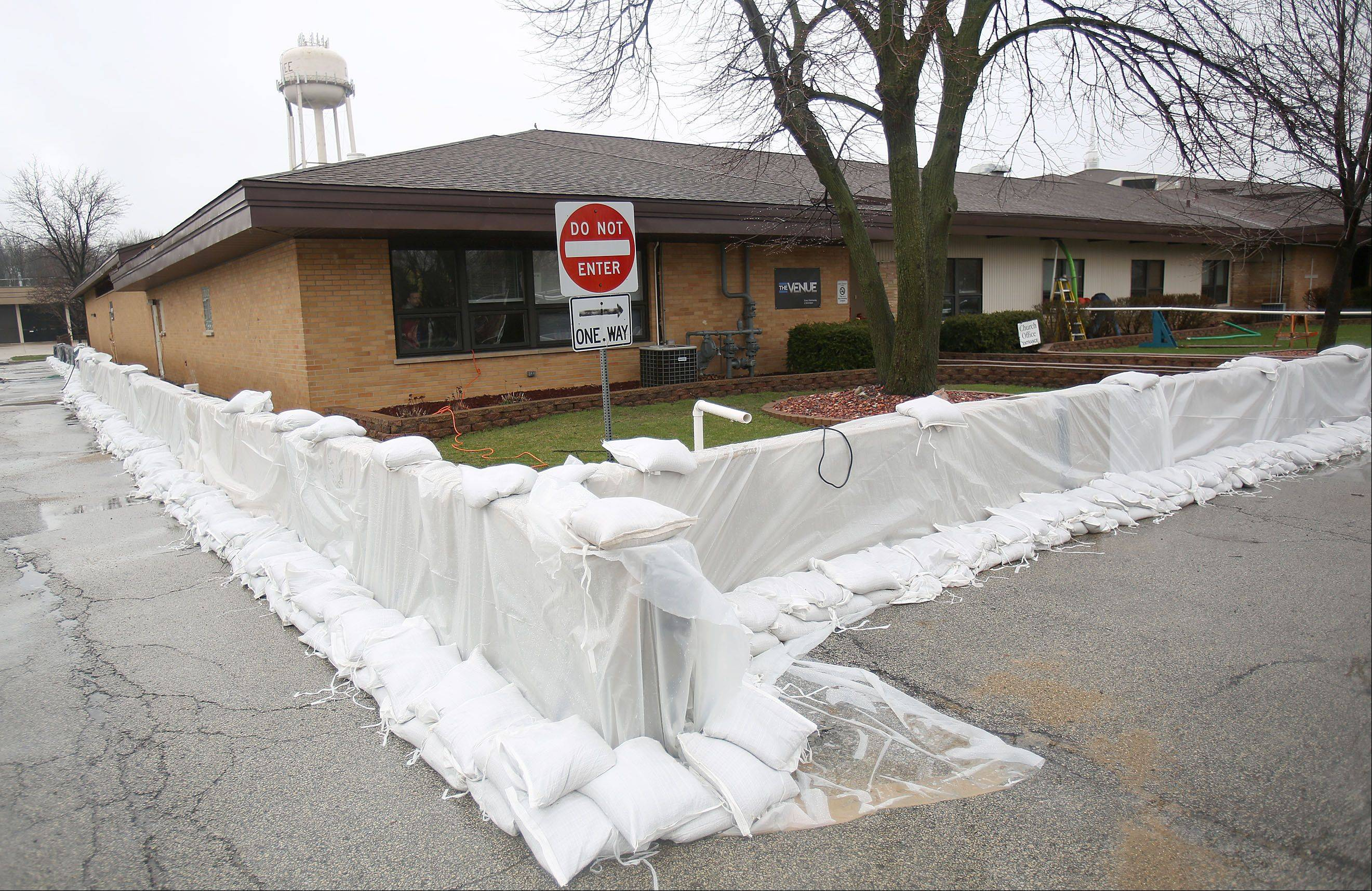 Sandbags surround Gurnee Community Chuch as they prepare for the Des Plaines River to crest in Gurnee Thursday morning.