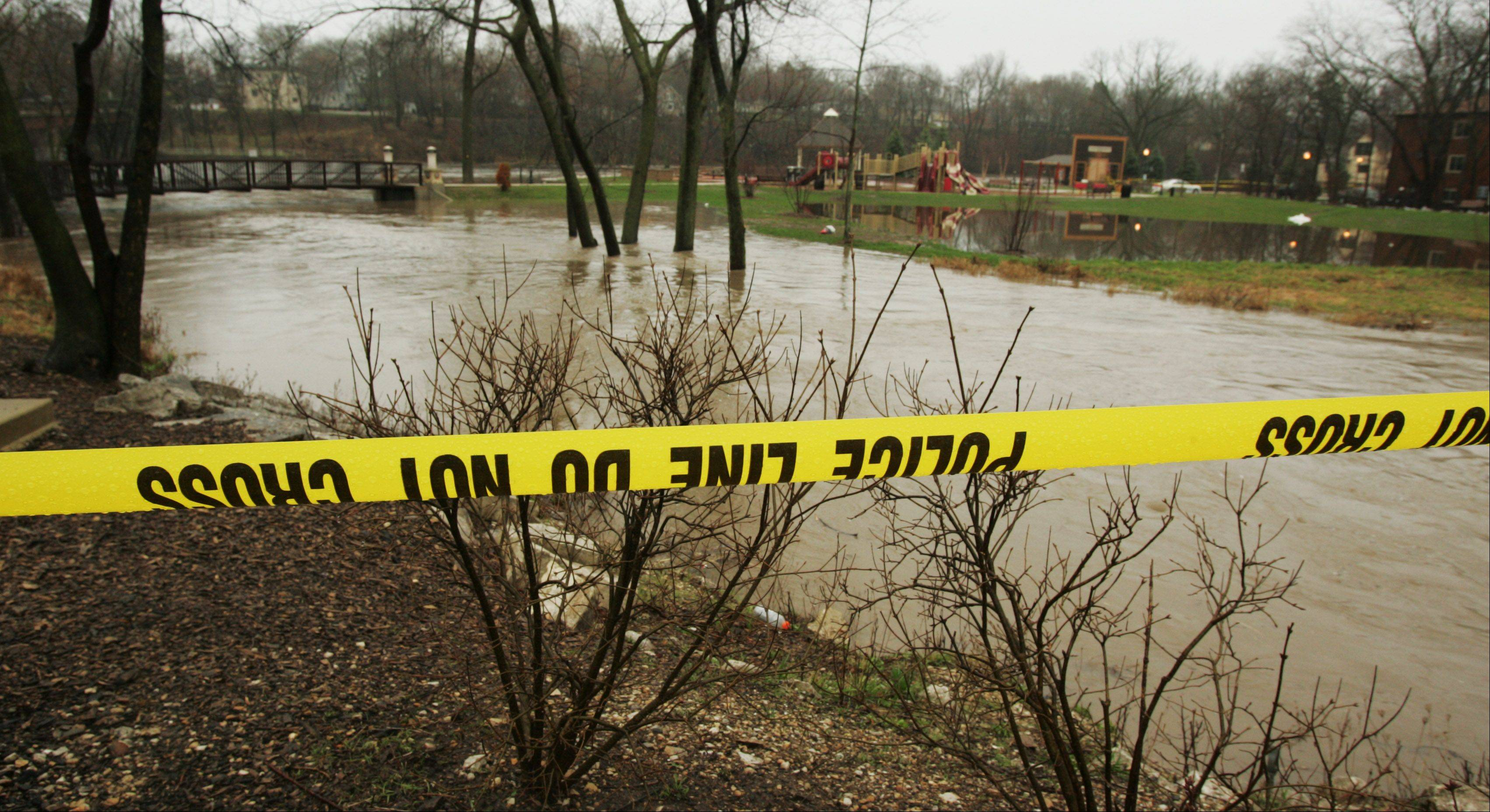 Towne Park in Algonquin was closed by police after floodwaters from the Fox River and a nearby creek filled most of the park with water.