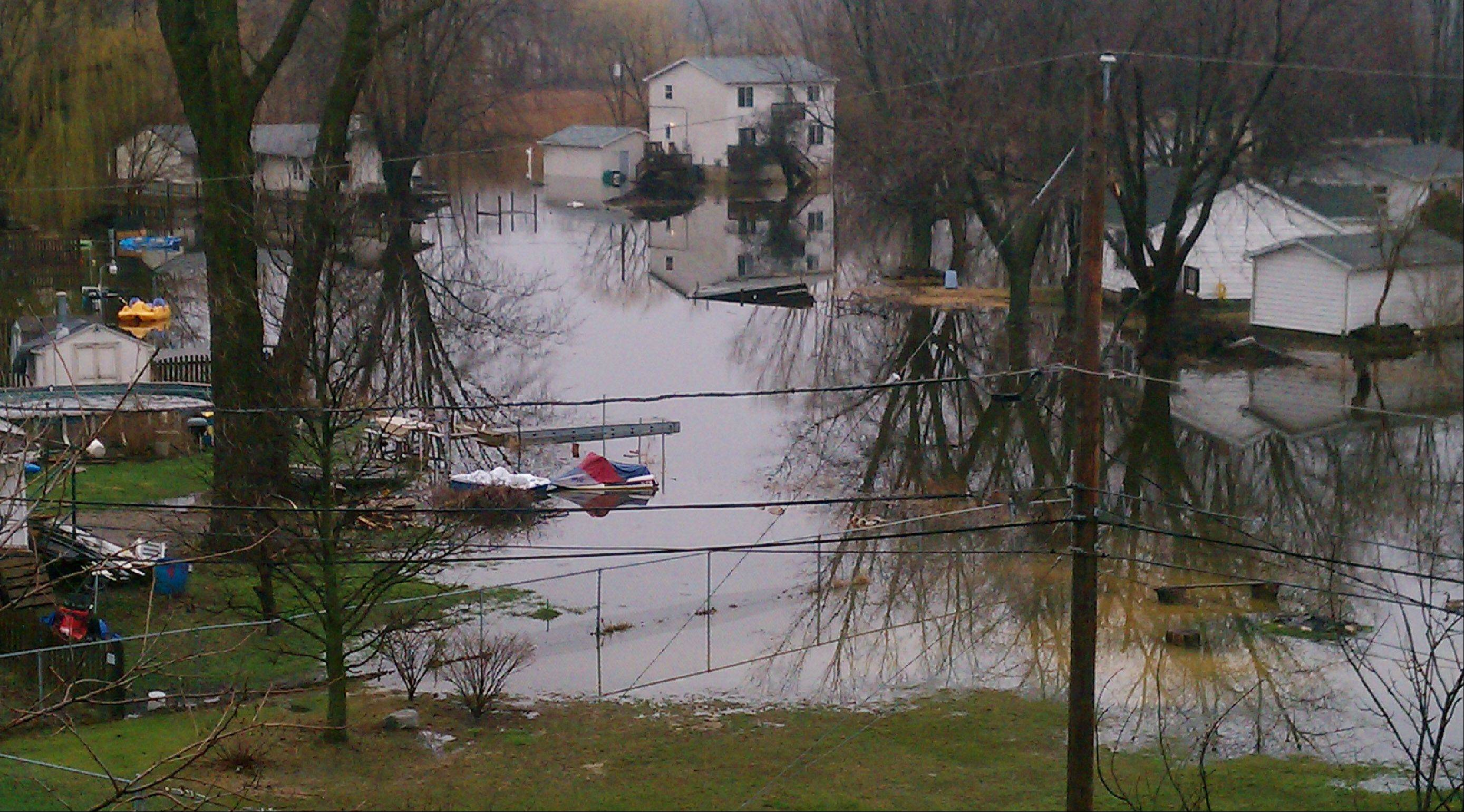 Knollwood park subdivision is heavily flooded in Fox Lake.