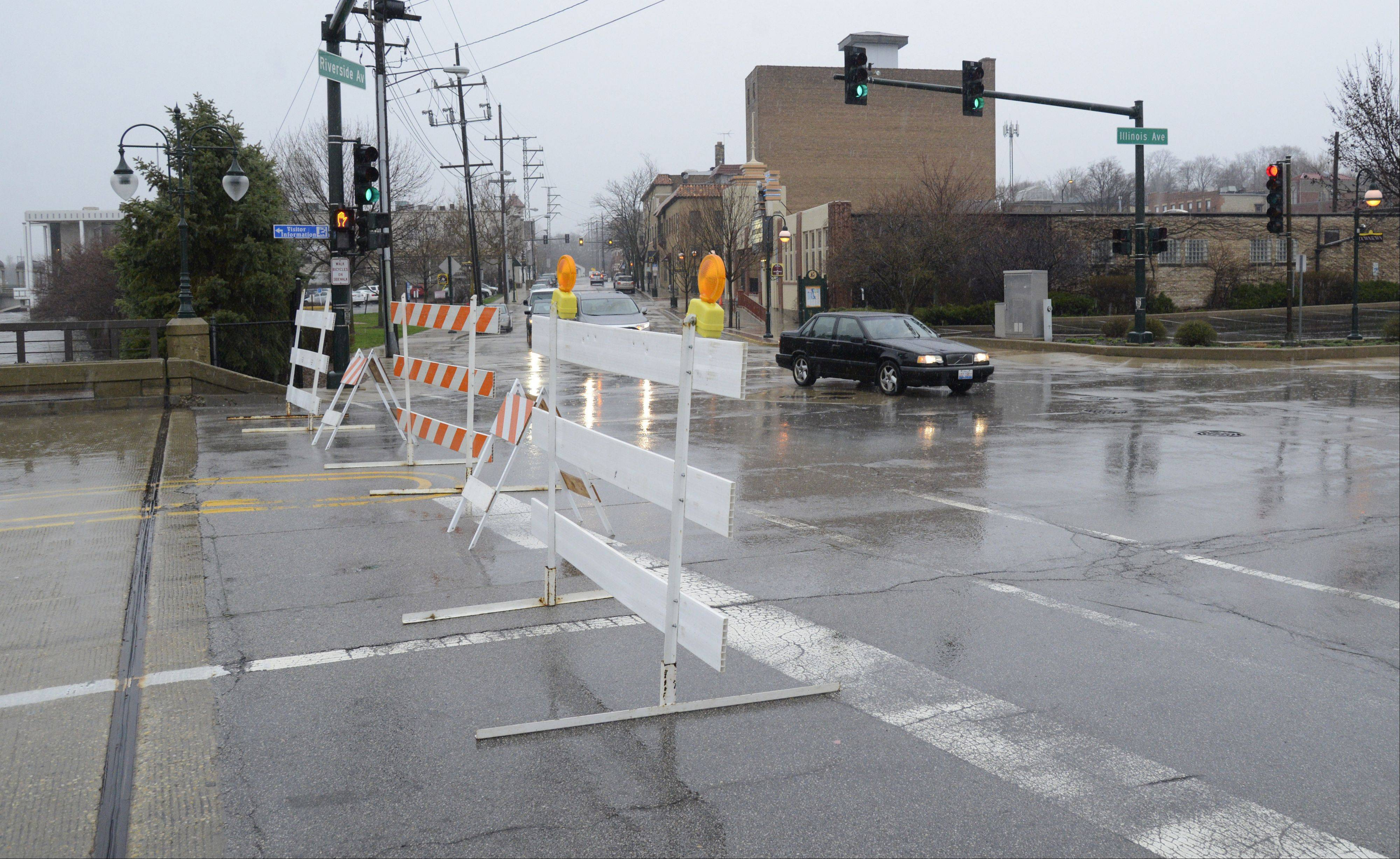 The Illinois Avenue Bridge in downtown St. Charles was closed Thursday.
