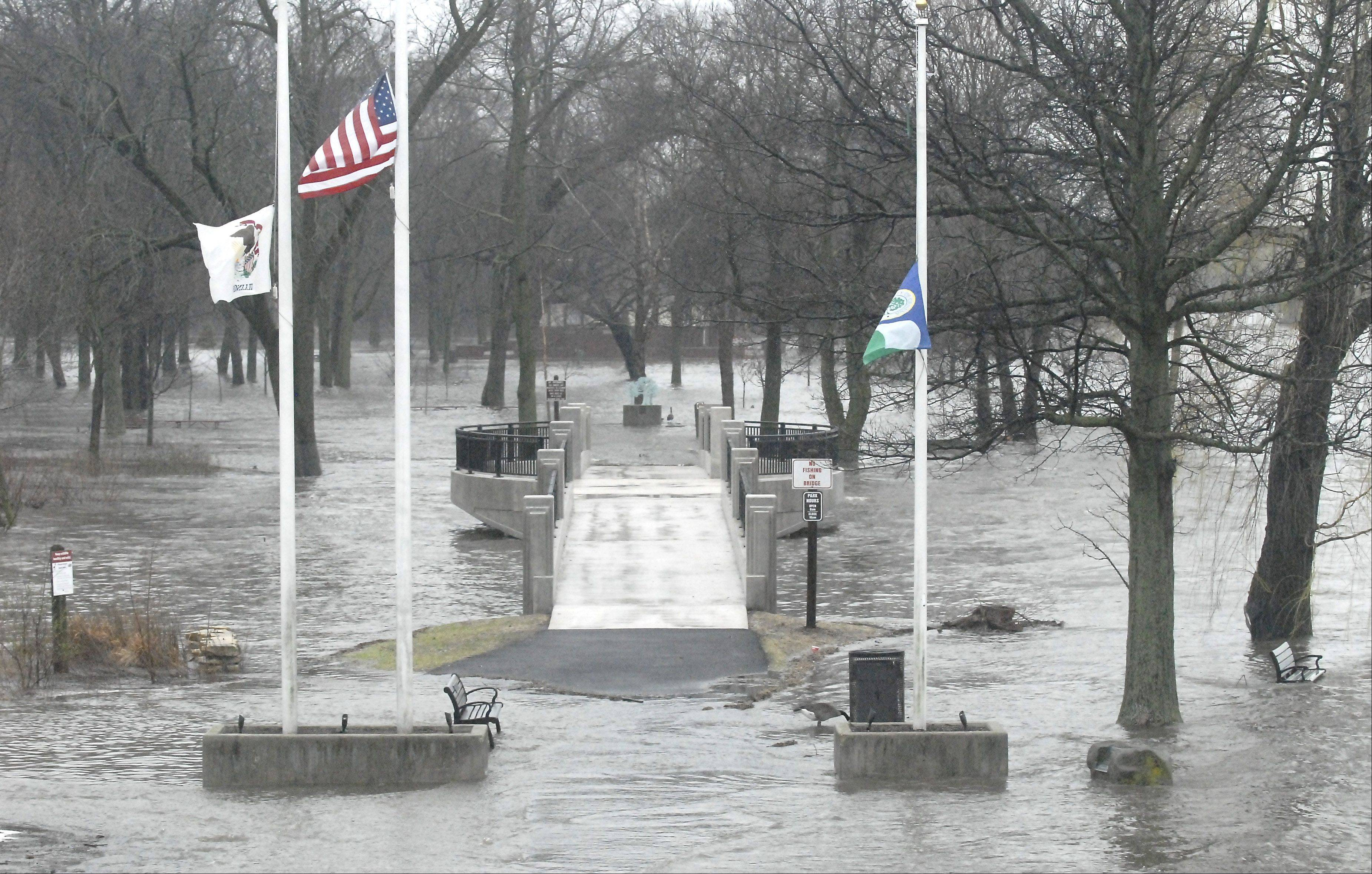 Island Park in Geneva was under water Thursday.