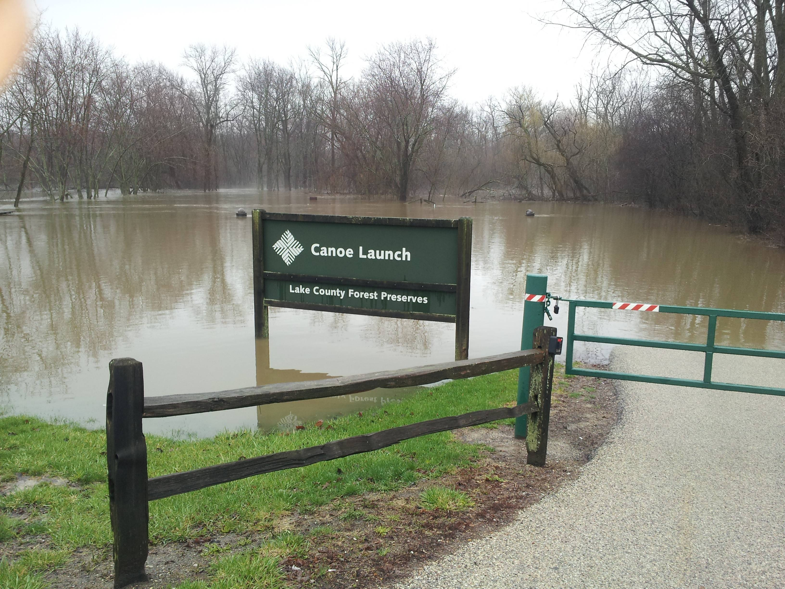 The Des Plaines river, at the boat launch, in Libertyville.