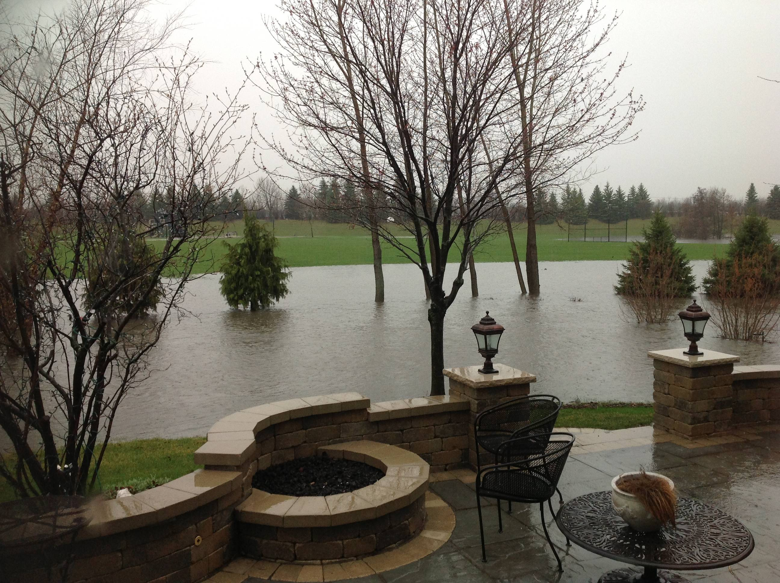 Flooding in Stonebridge at 2365 Brookwood Court in Aurora.