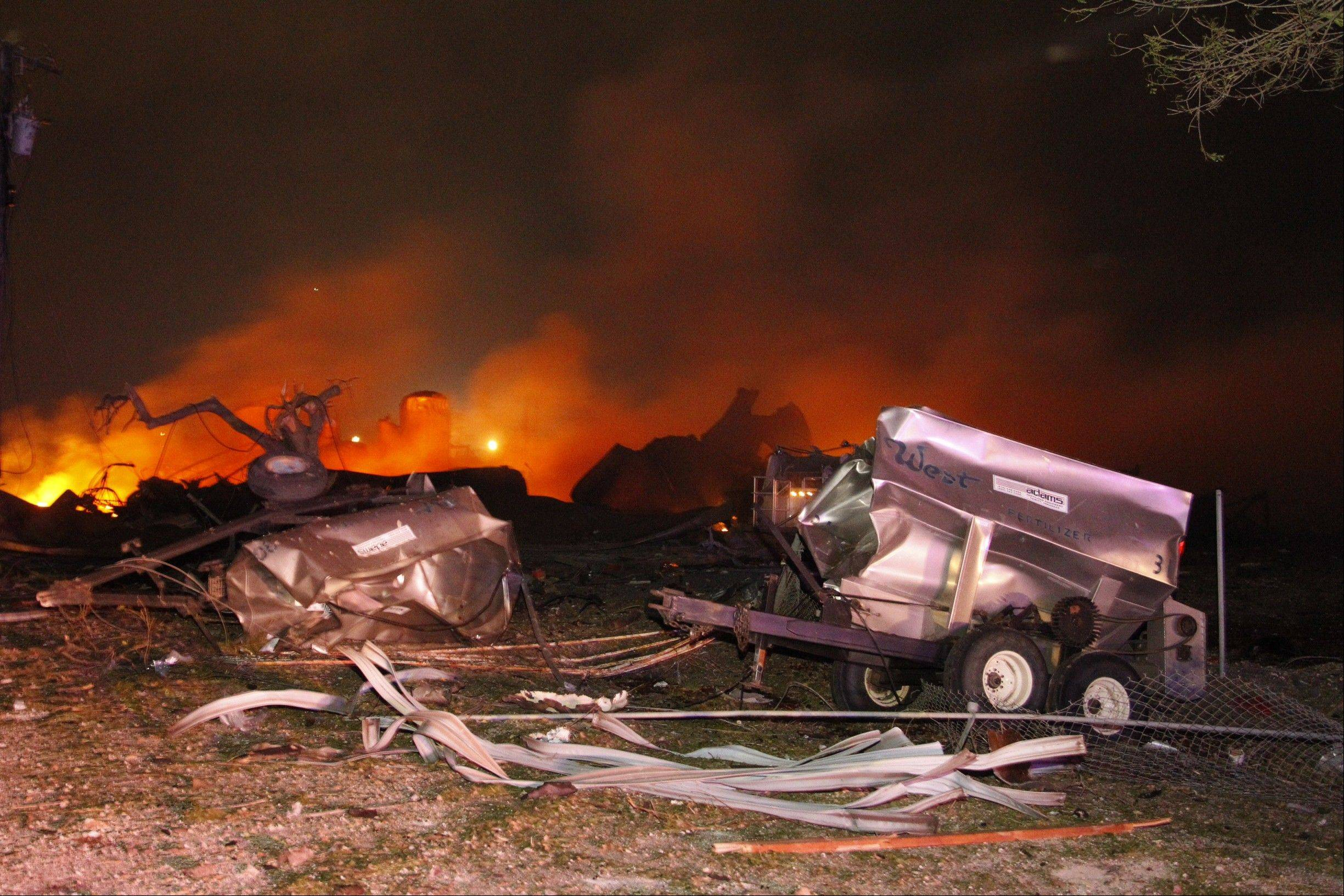 A fire burns at a fertilizer plant in West, Texas after an explosion Wednesday.