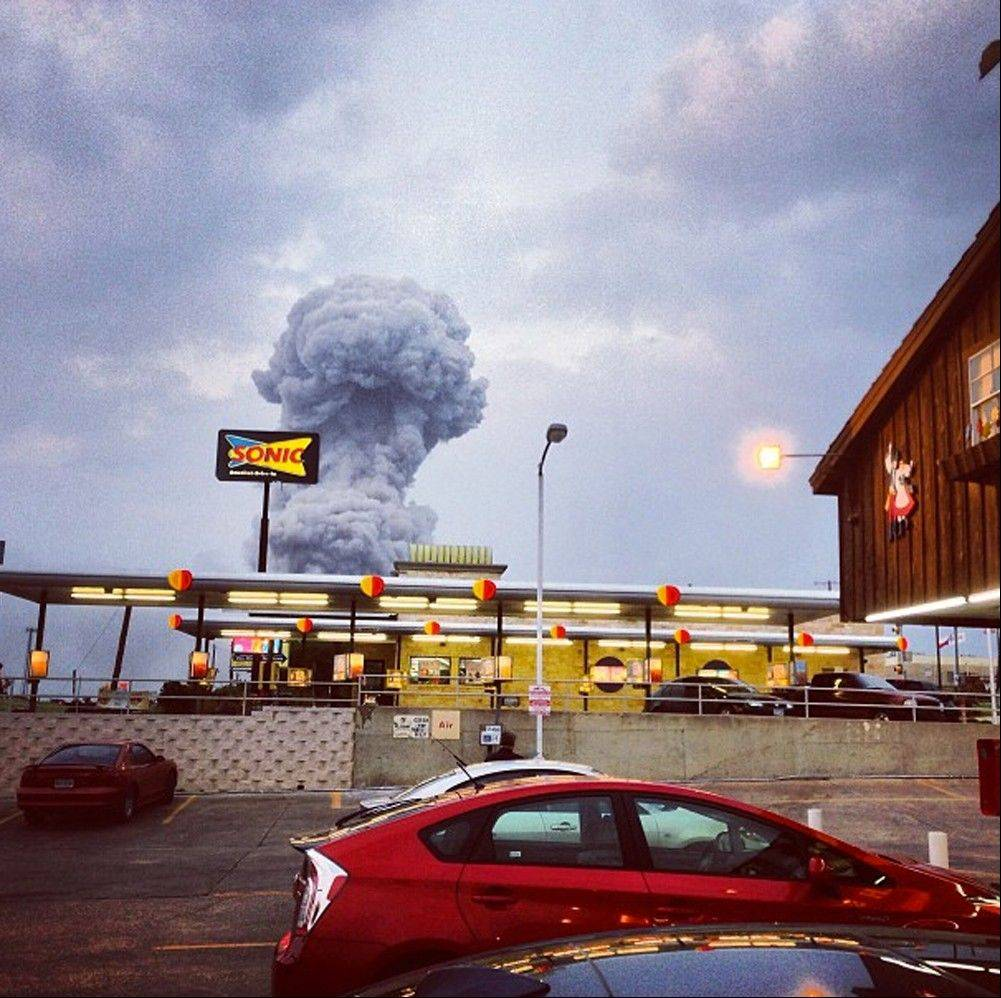 In this Instagram photo provided by Andy Bartee, a plume of smoke rises from a fertilizer plant fire in West, Texas, on Wednesday.