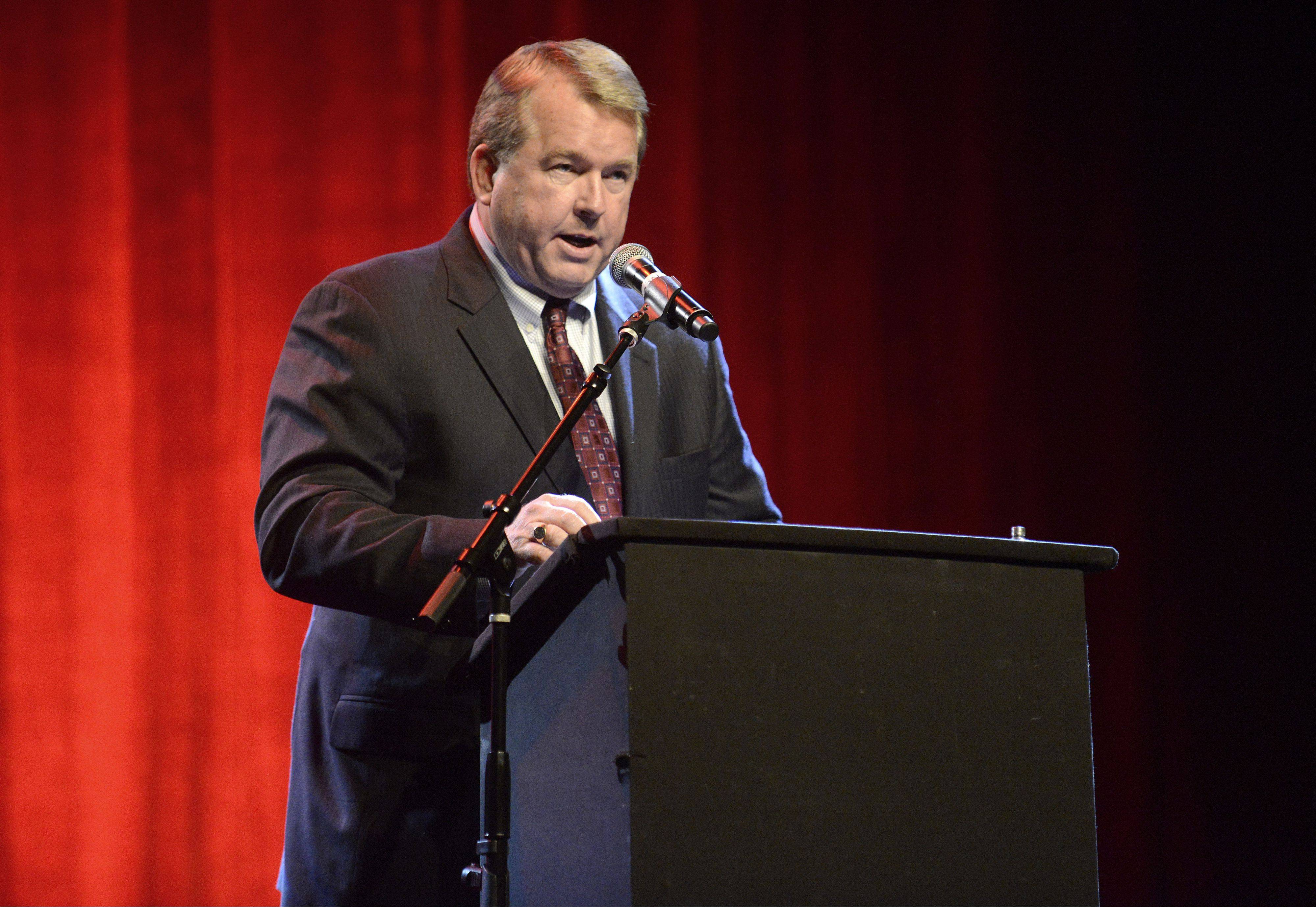 St. Charles Mayor Don DeWitte shares some closing remarks at his farewell party at the Arcada Theatre on Wednesday.
