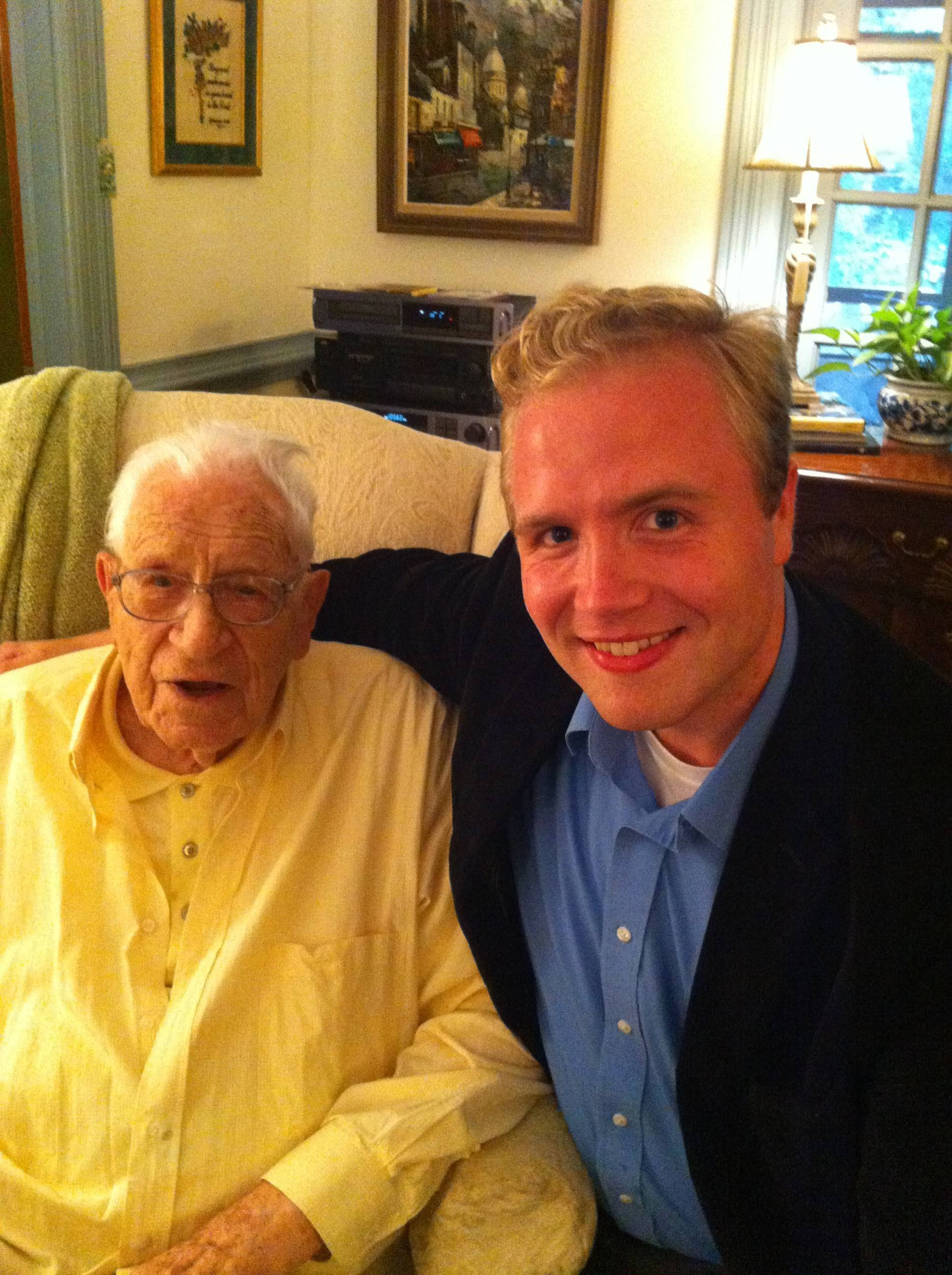 George Beverly Shea in his Montreat home with Nathaniel Olson