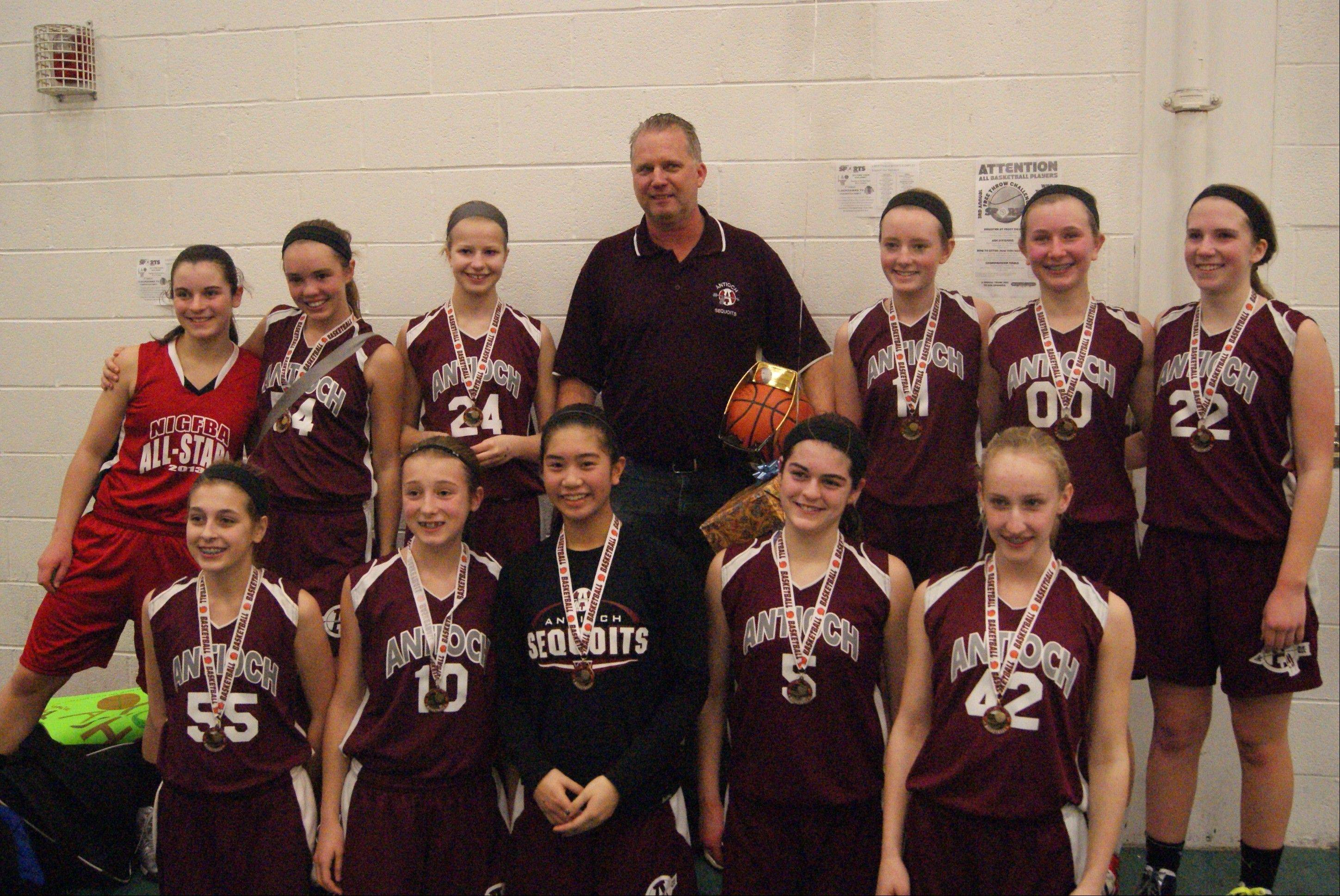 The Antioch Junior Sequoits eighth grade girls feeder basketball team coached by Jim Kelly, made it to the finals in a recent year-end tournament. It was the final season for Kelly, who co-founded the program nine years ago.