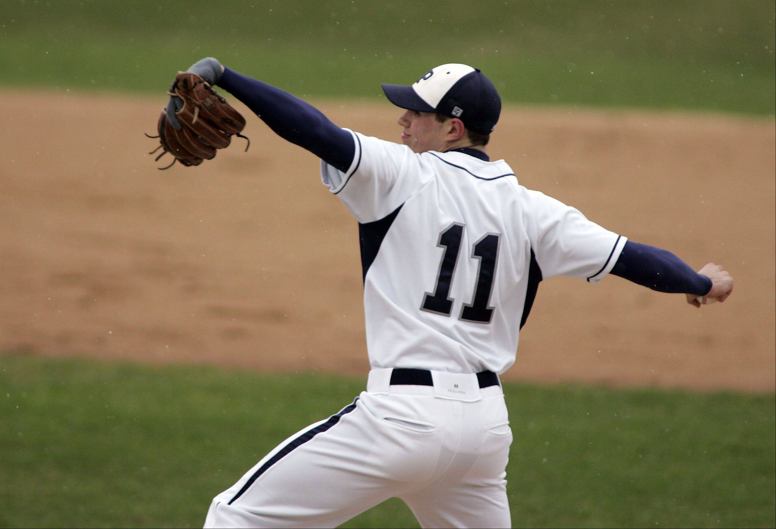 Lake Park's Eric Vatch delivers to the plate against Larkin Friday at Boomers Stadium in Schaumburg.