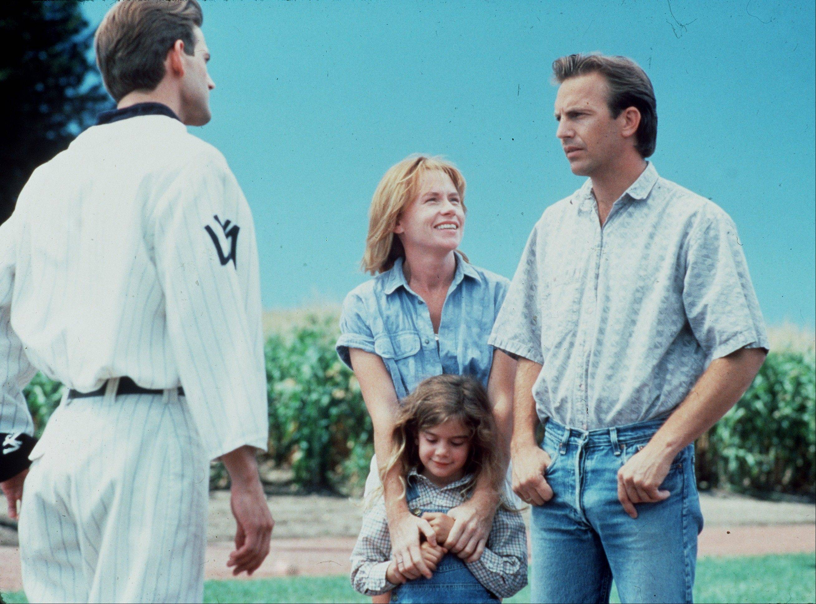 "An Iowa farmer (Kevin Costner) builds a magic baseball diamond in his cornfields, with startling results, in ""Field of Dreams."""