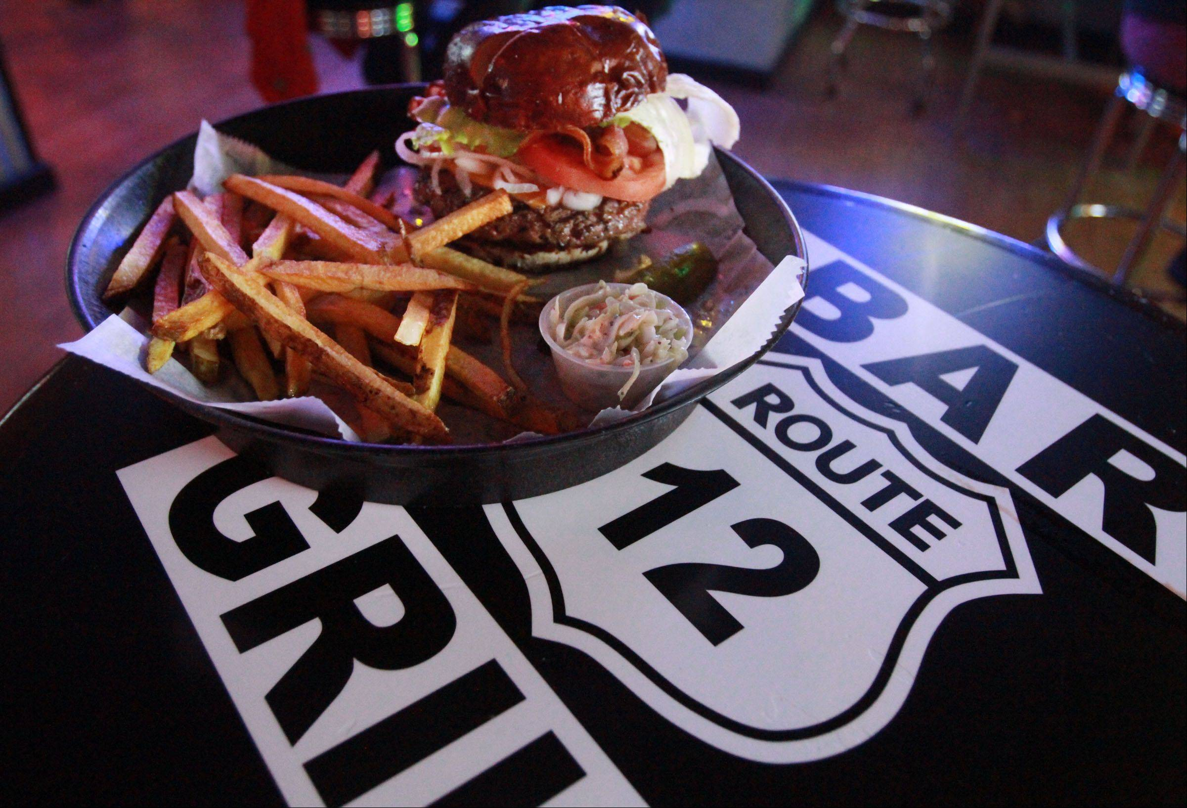 The bacon cheeseburger is one of many burger options at Route 12 Bar & Grill in Fox Lake.
