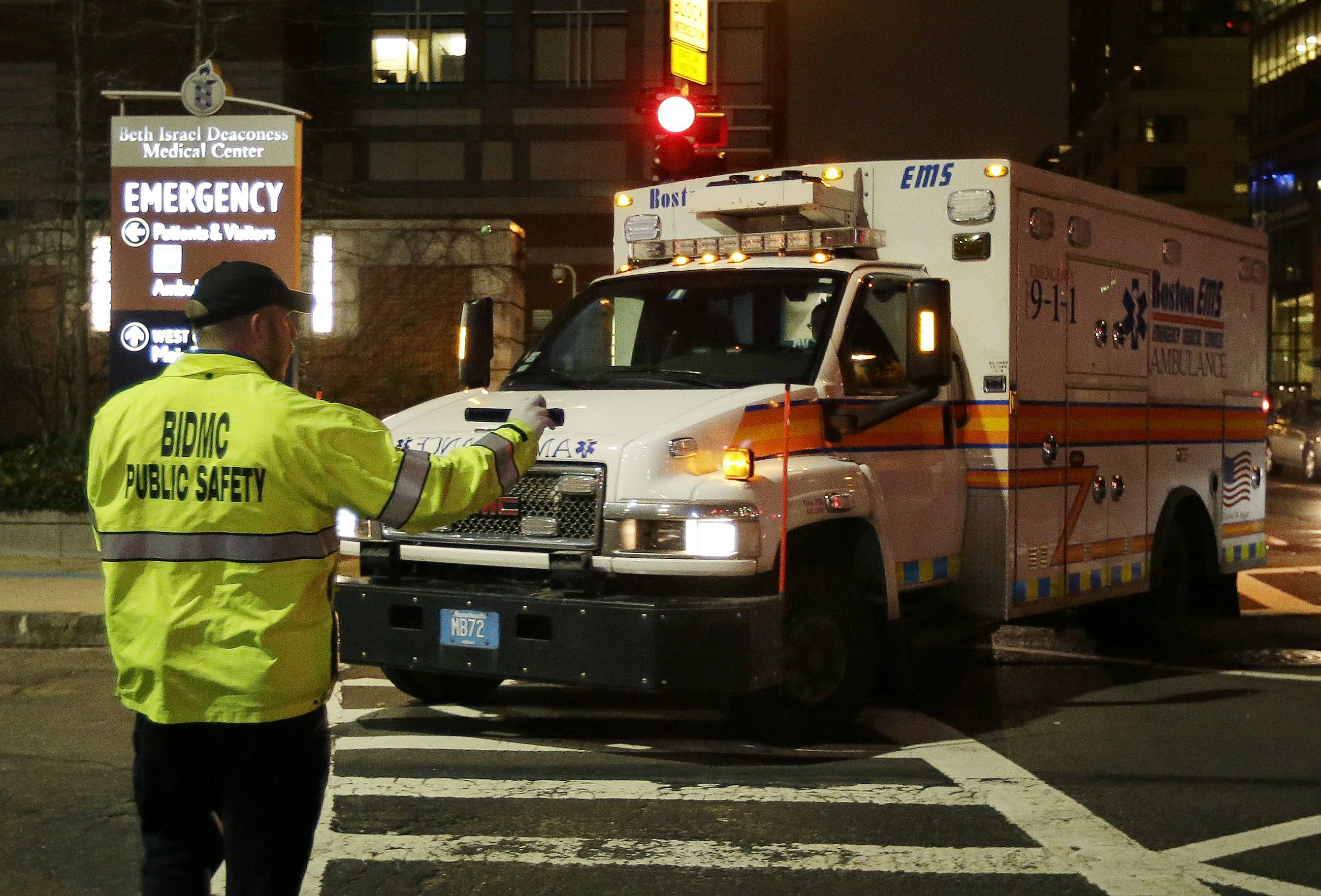 An ambulance carrying Dzhokhar Tsarnaev, a19-year-old Massachusetts college student wanted in the Boston Marathon bombings, turns into Beth Israel Deaconess Medical Center Friday, April 19, 2013, after he was captured in an all day manhunt. Tsarnaev is hospitalized in serious condition with unspecified injuries, police said.
