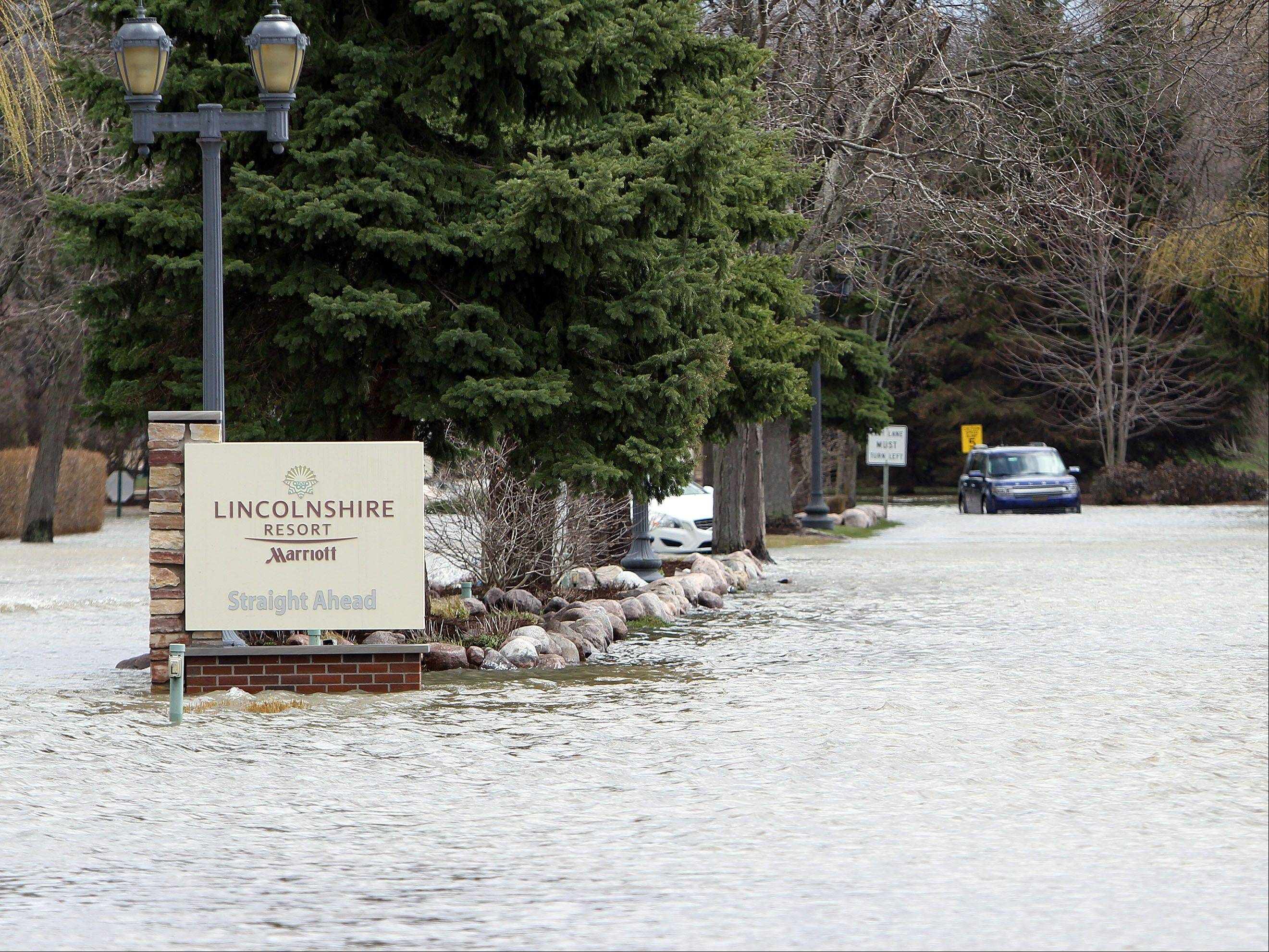 The Lincolshire Marriott Resort is closed due to flooding Friday morning.
