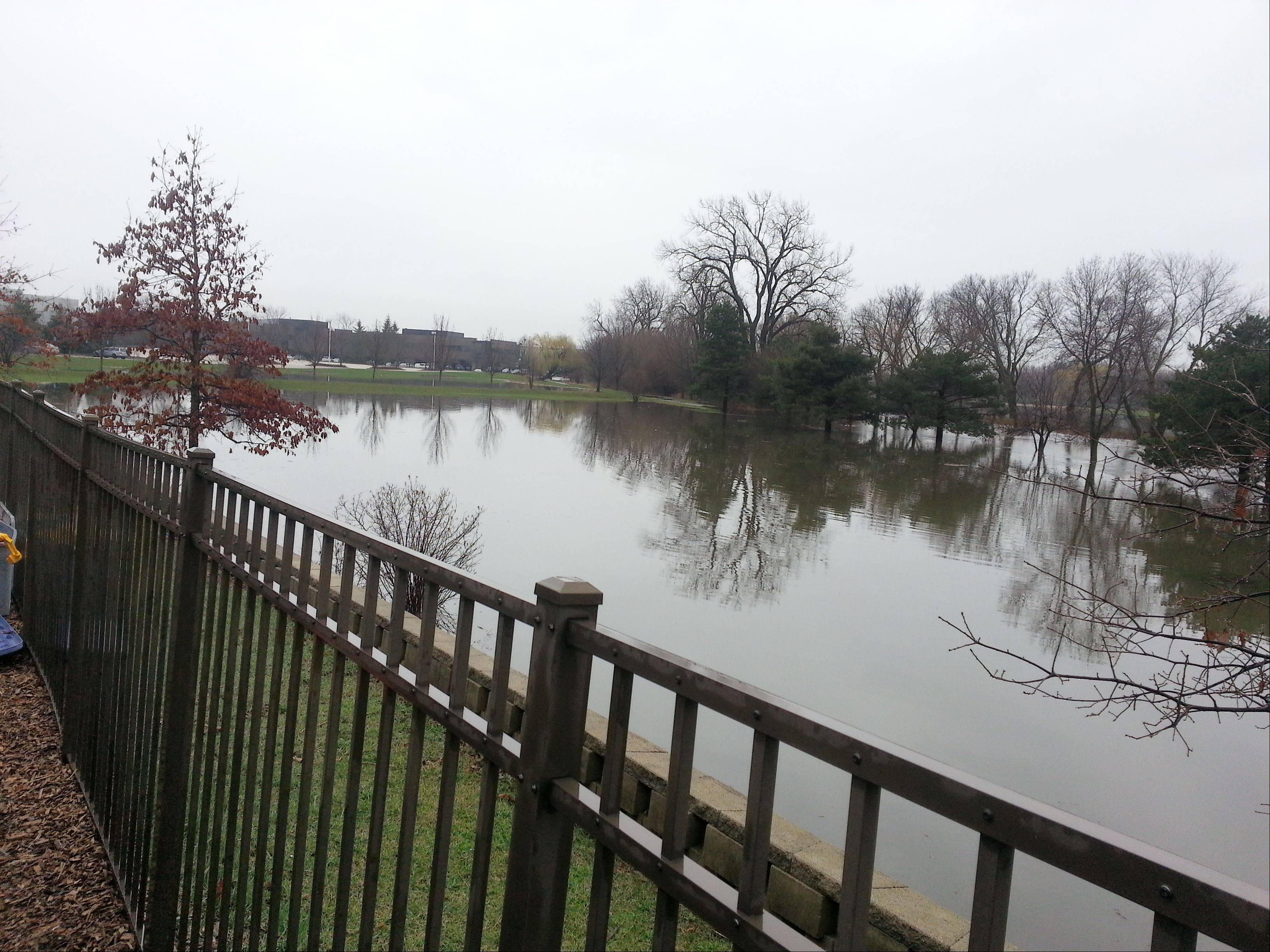 Flooding behind the Lakeview Fitness Center in Vernon Hills