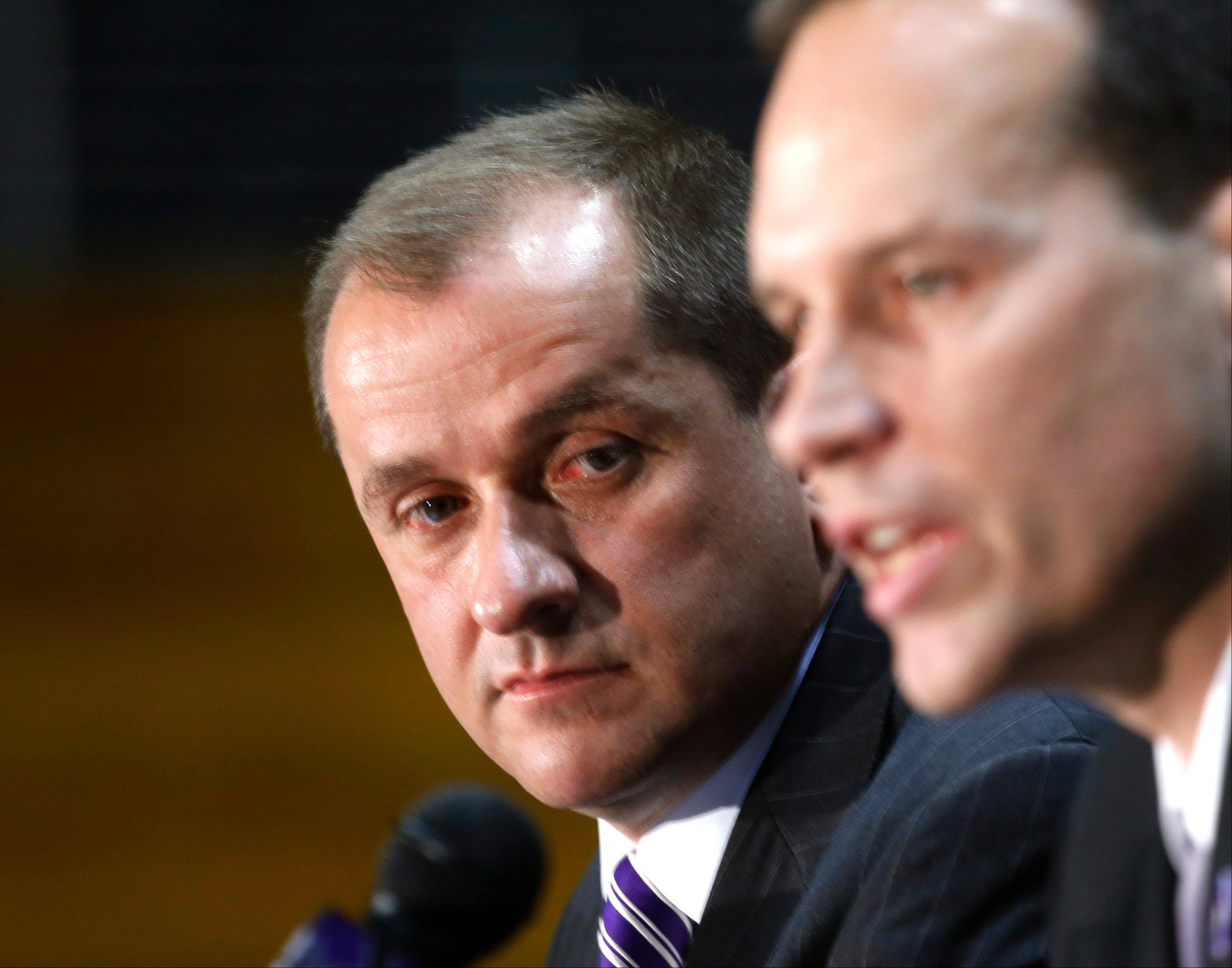 Northwestern University Athletic Director Jim Phillips, left, is confident that Chris Collins can take the men's basketball program to a higher level. DePaul and Illinois also are making significant changes to their programs.