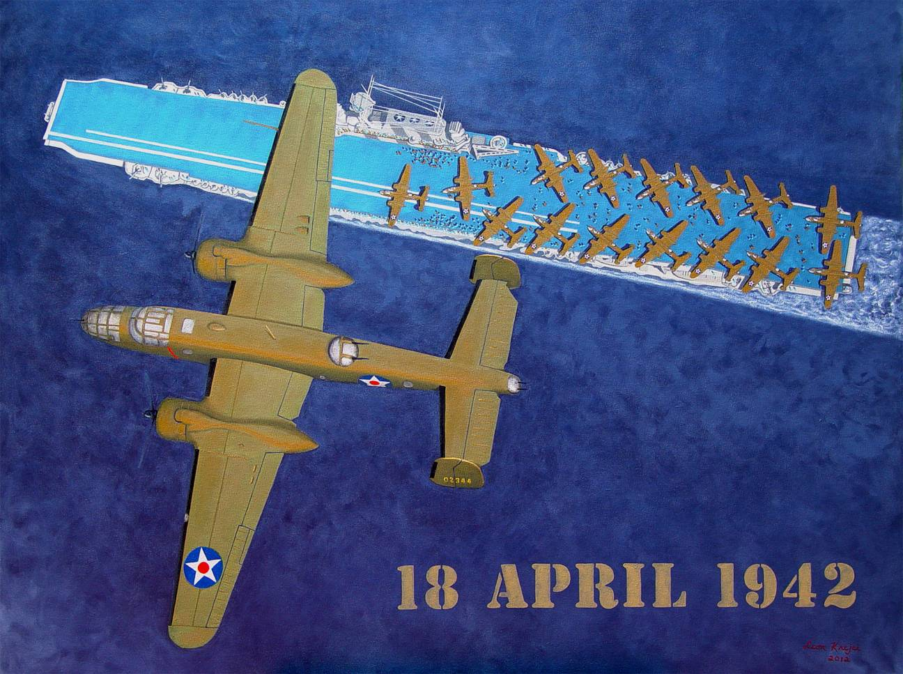 """18 April 1942"" (The Doolittle Raid) - Oil on Canvas - 50"" x 38"" by Leon Krejci"