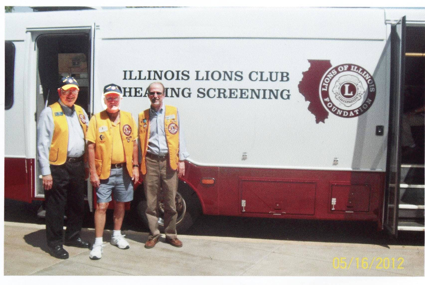 From left, Elgin Lions Club members, Dick June, Rodney Roberts, and Ed Bates await local residents for hearing screening.