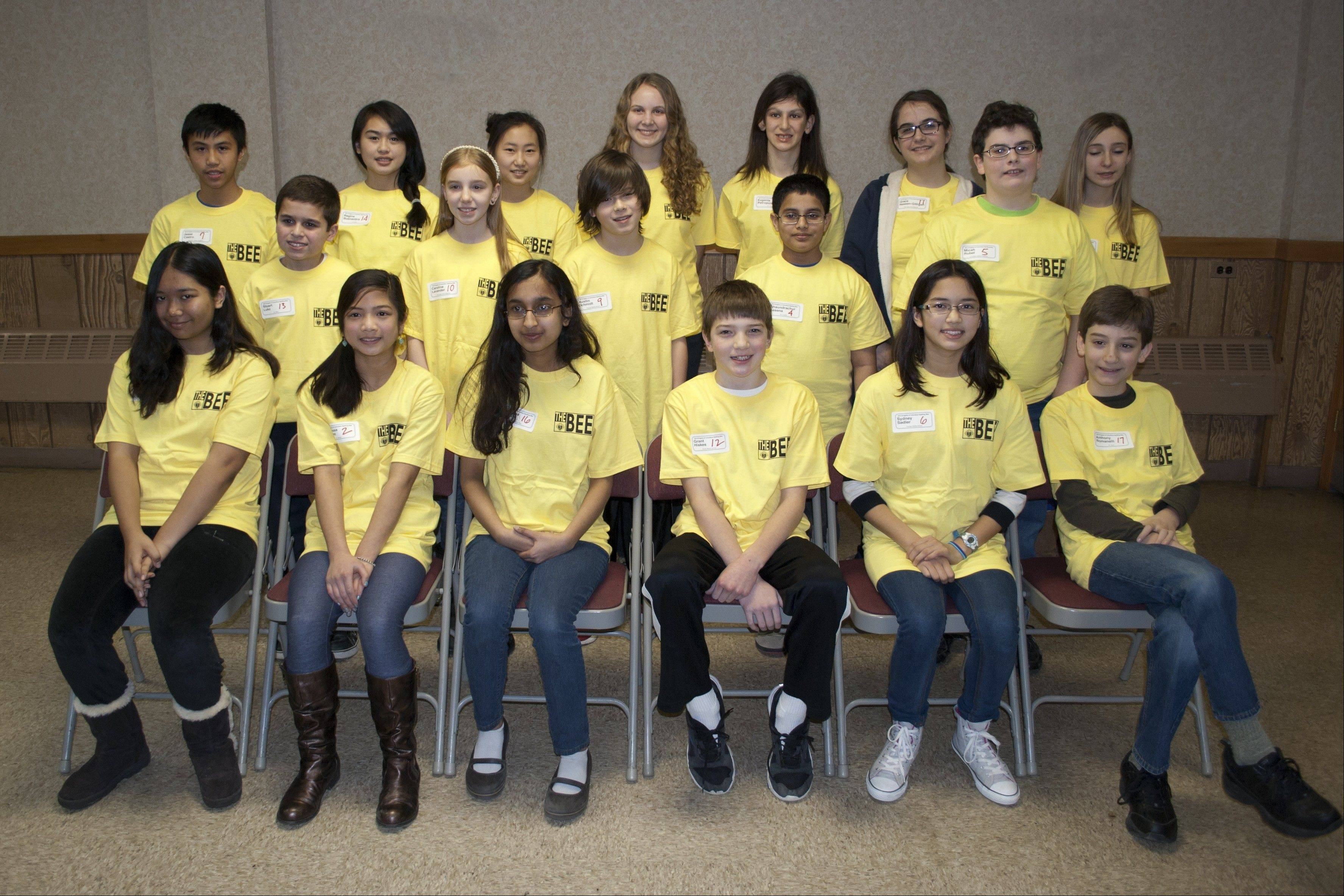 Participants of the 31st annual Knights of Columbus Spelling Bee, from left are: Front row:Erica Hong, Clarissa Gomez, Susanna D'Silva, Grant Hiskes, Sydney Sadler and Anthony Romanelli; second row: Stuart Lukz, Caroline Lavender, Austin Schmidt, Chandrachur Kesana and Micah Rubel; back row: Jesse Castro, Regine Buenaobra, Lindsey Lee, Meredith Nowotarski, Eugenia Petropulos, Grace Nessen-Gilligan and Jessica Davis.