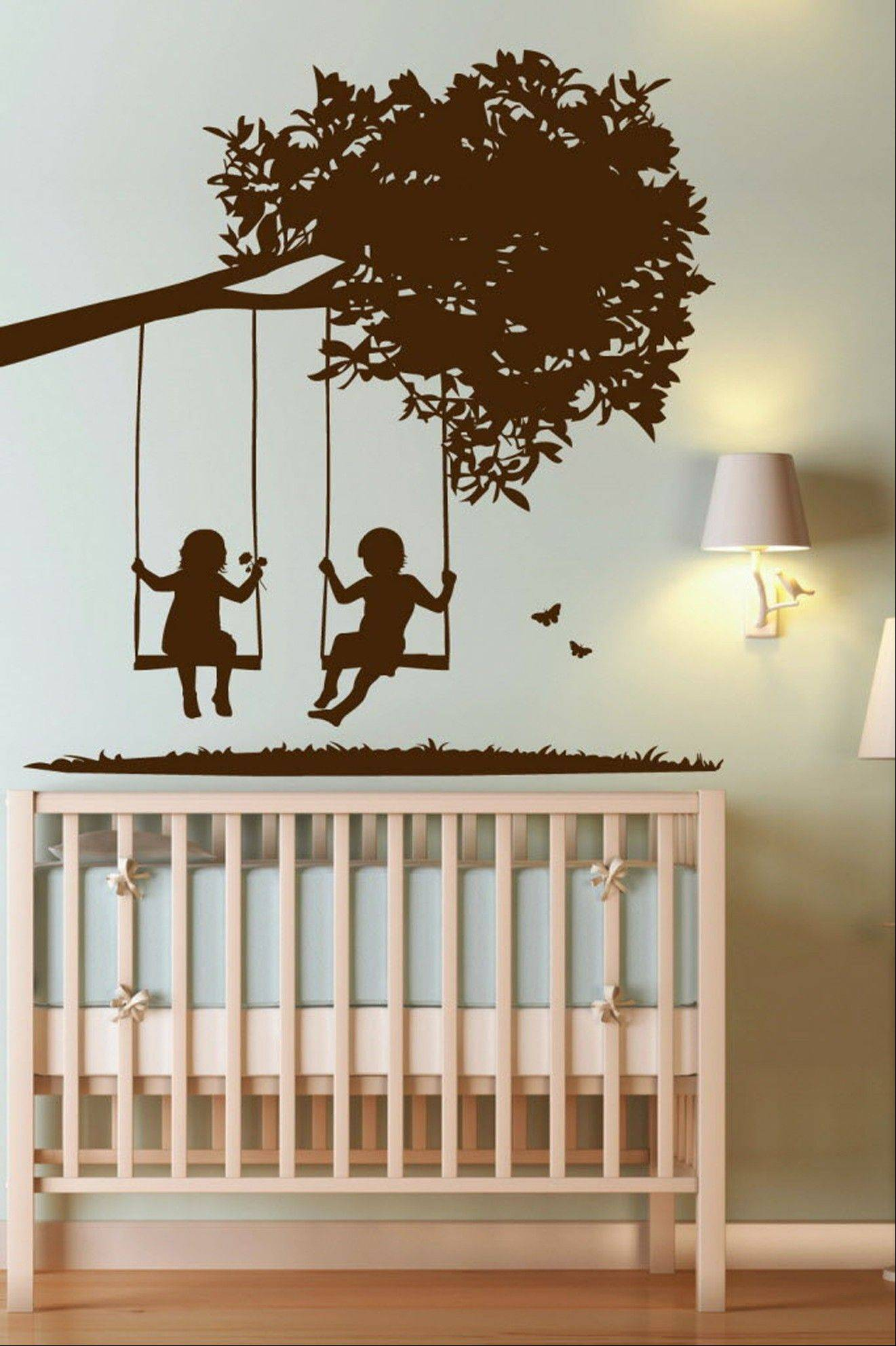 The Kids on Swings decal is a popular choice for parents decorating nurseries. Parents like the flexibility of wall decals that can be easily changed as kids grow.