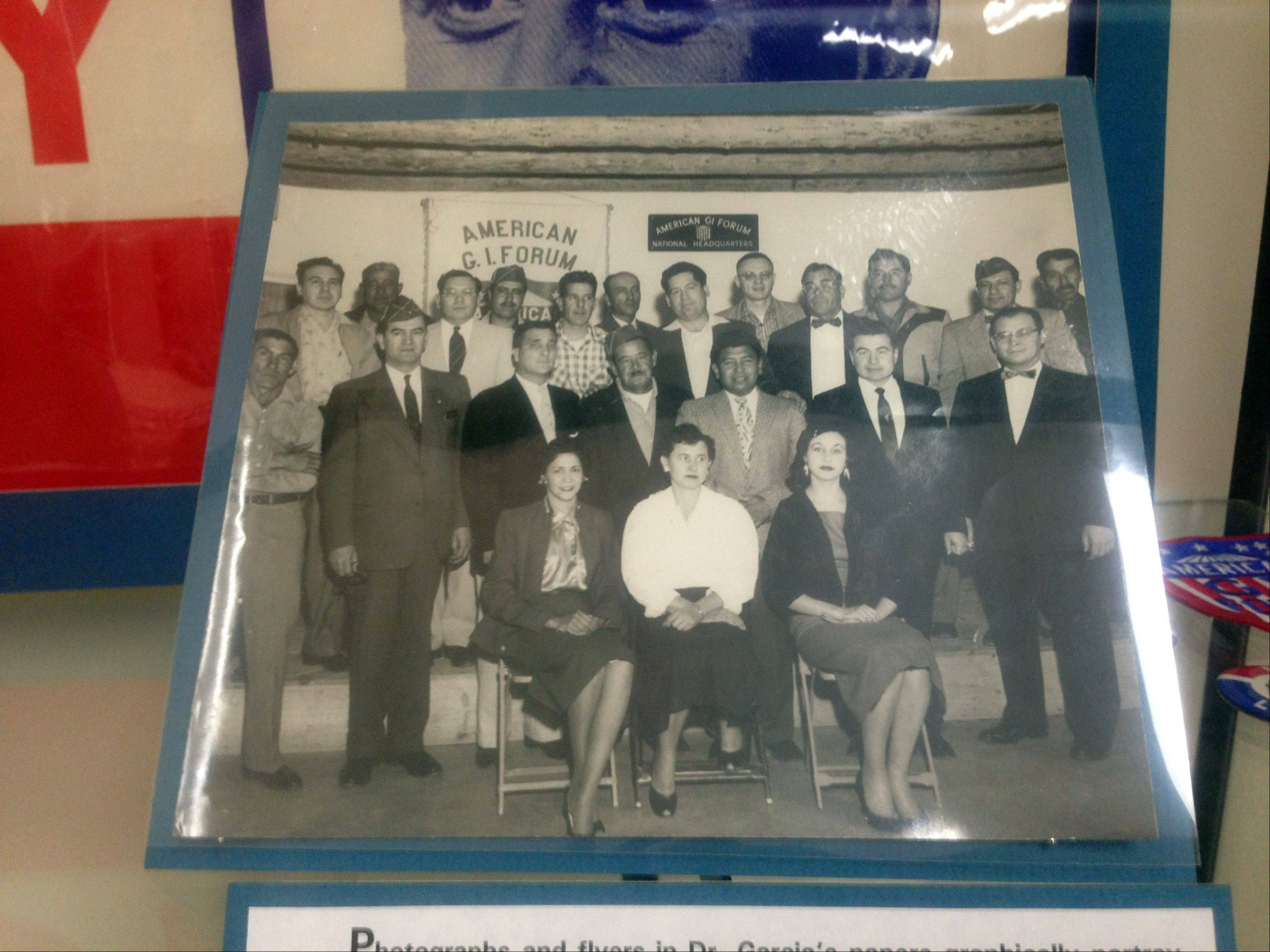 A photo of civil rights leader and G.I. Forum founder Dr. Hector P. Garcia is part of the Garcia exhibit at Texas A&M-Corpus Christi, Texas.