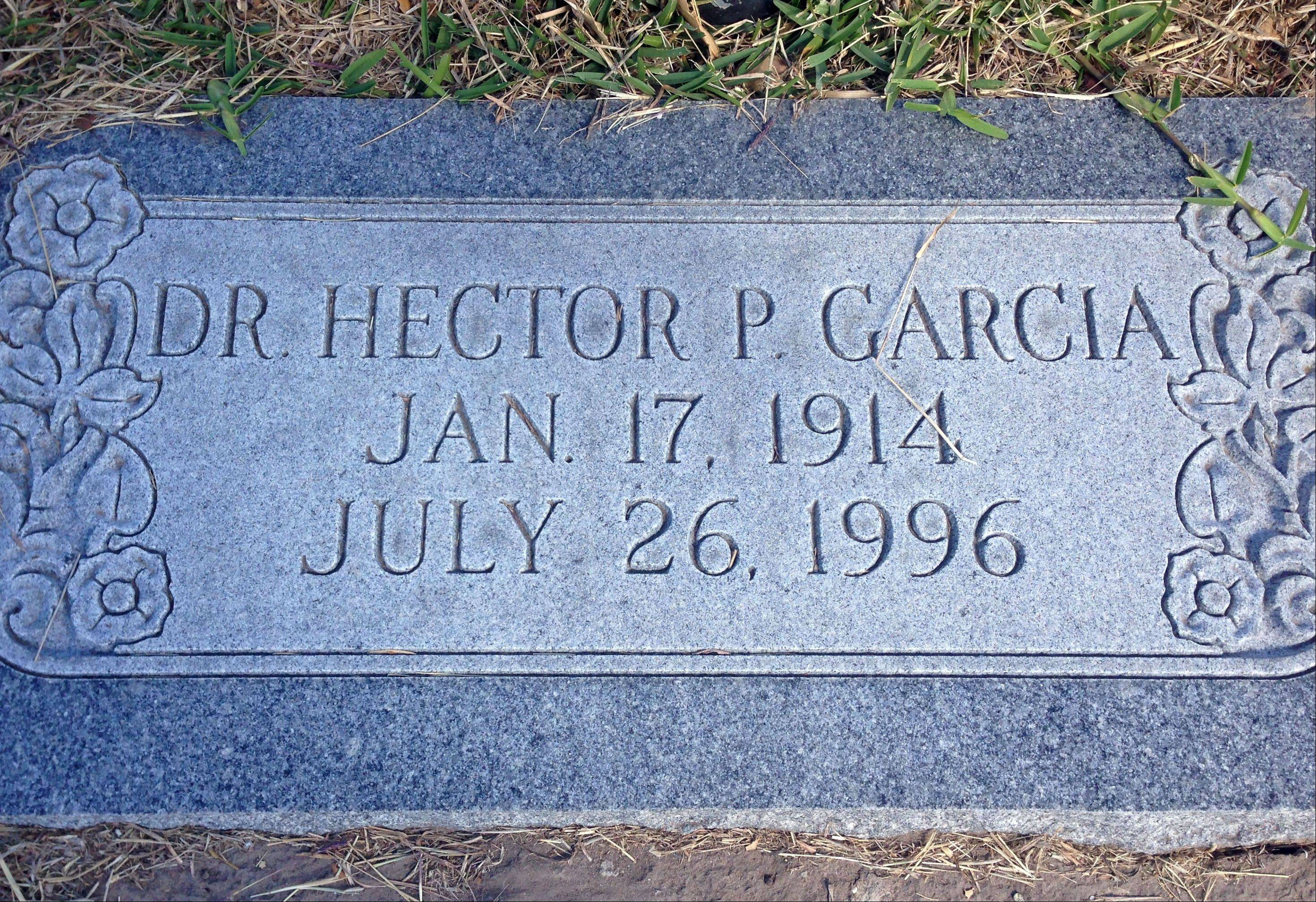 The resting place of civil rights leader and G.I. Forum founder Dr. Hector P. Garcia is shown at the Seaside Memorial Park in Corpus Christi.