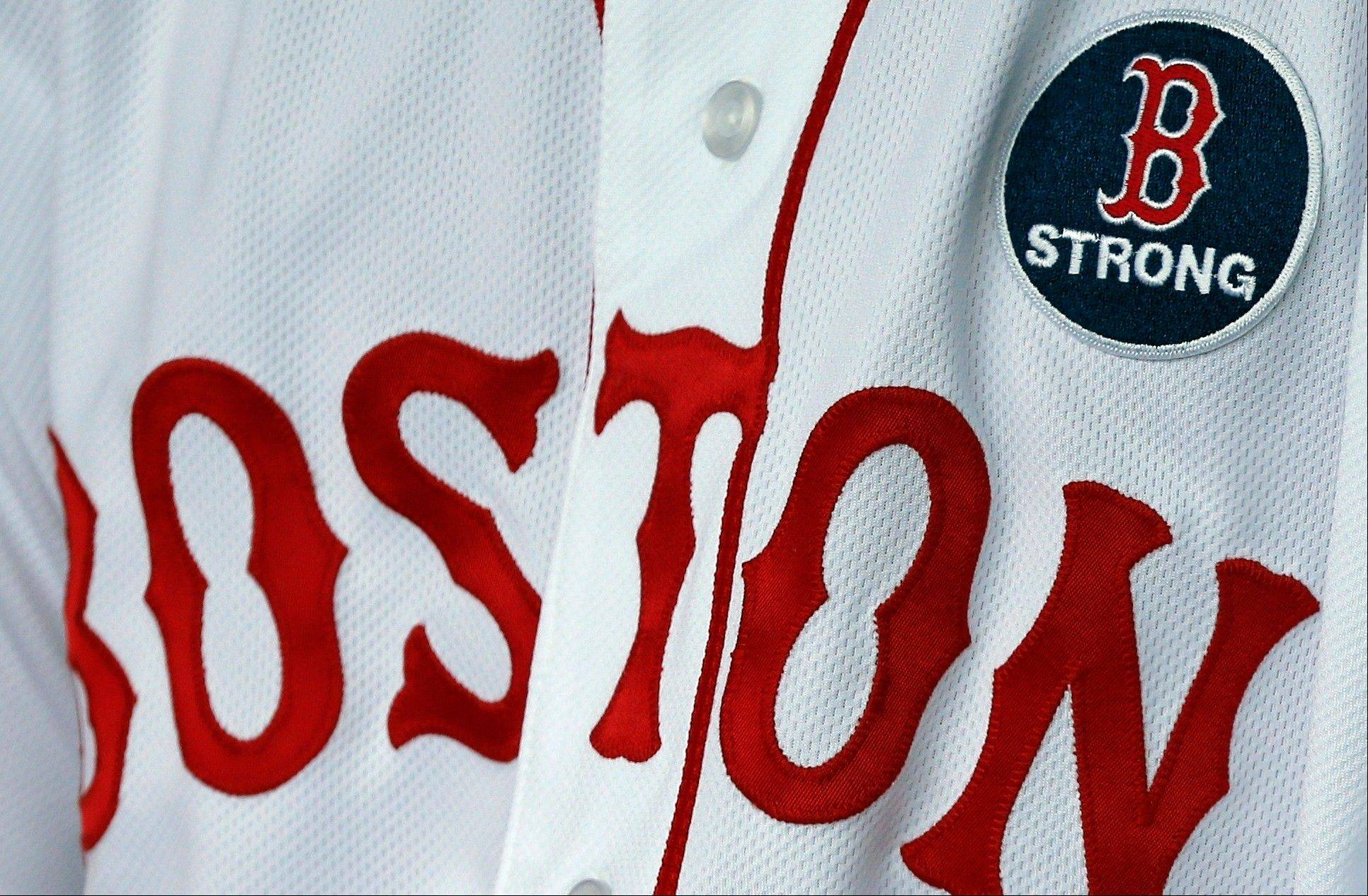 Boston Red Sox's Pedro Ciriaco wears a 'B strong patch during a baseball game between the Boston Red Sox and the Kansas City Royals in Boston, Saturday, April 20, 2013.