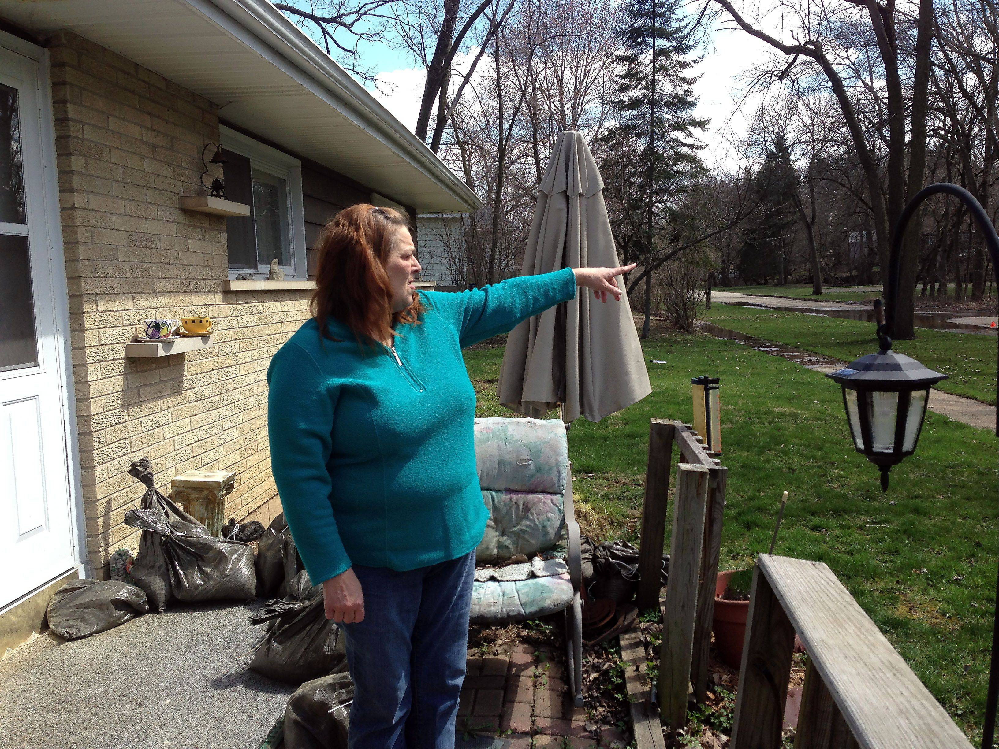 Spring and fall are always stressful times for Lorie Granderson, who lives in her childhood home on Willard Avenue, across the street from Willow Creek in Elgin. Last week�s storms were the second worst in memory, with the water stopping 7 to 8 feet from her garage.