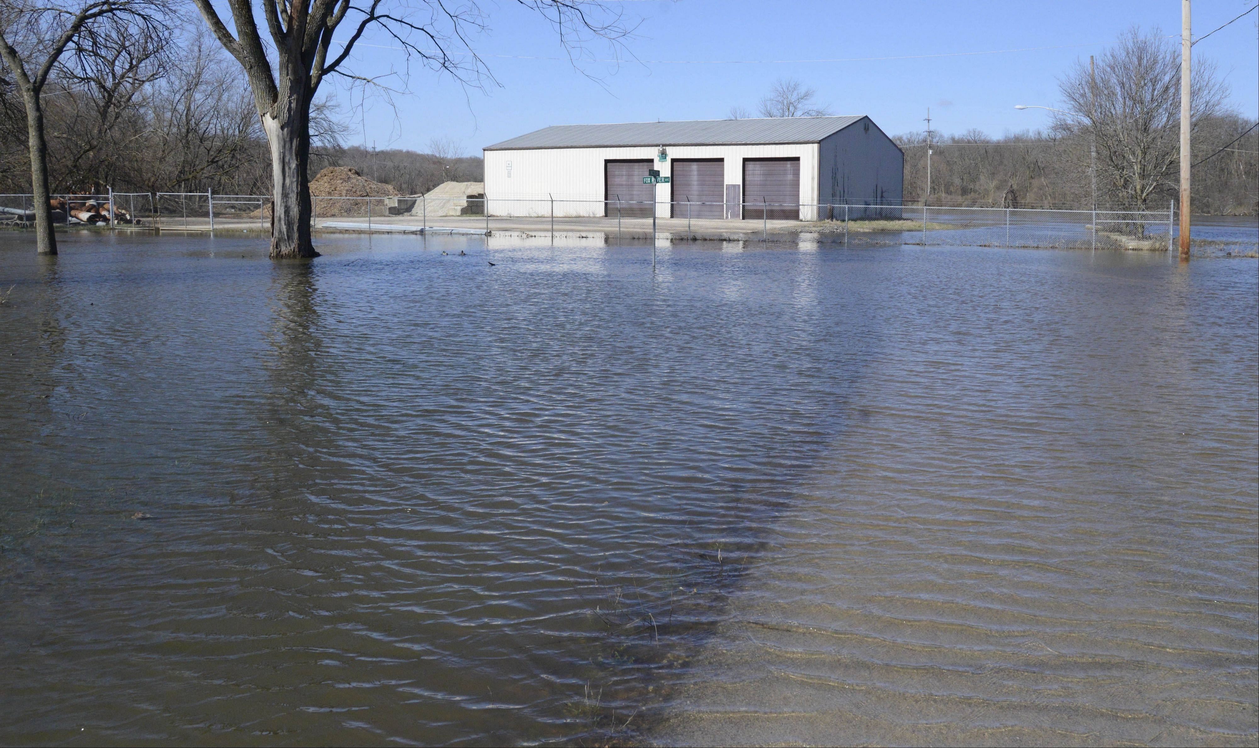 A St. Charles Township garage sits on an island of sorts on Fox River Ave. near Lincoln St. in the Valley View neighborhood of St. Charles on Saturday, April 20. This part of the neighborhood, near Taly Park, has flooded numerous times in the past.