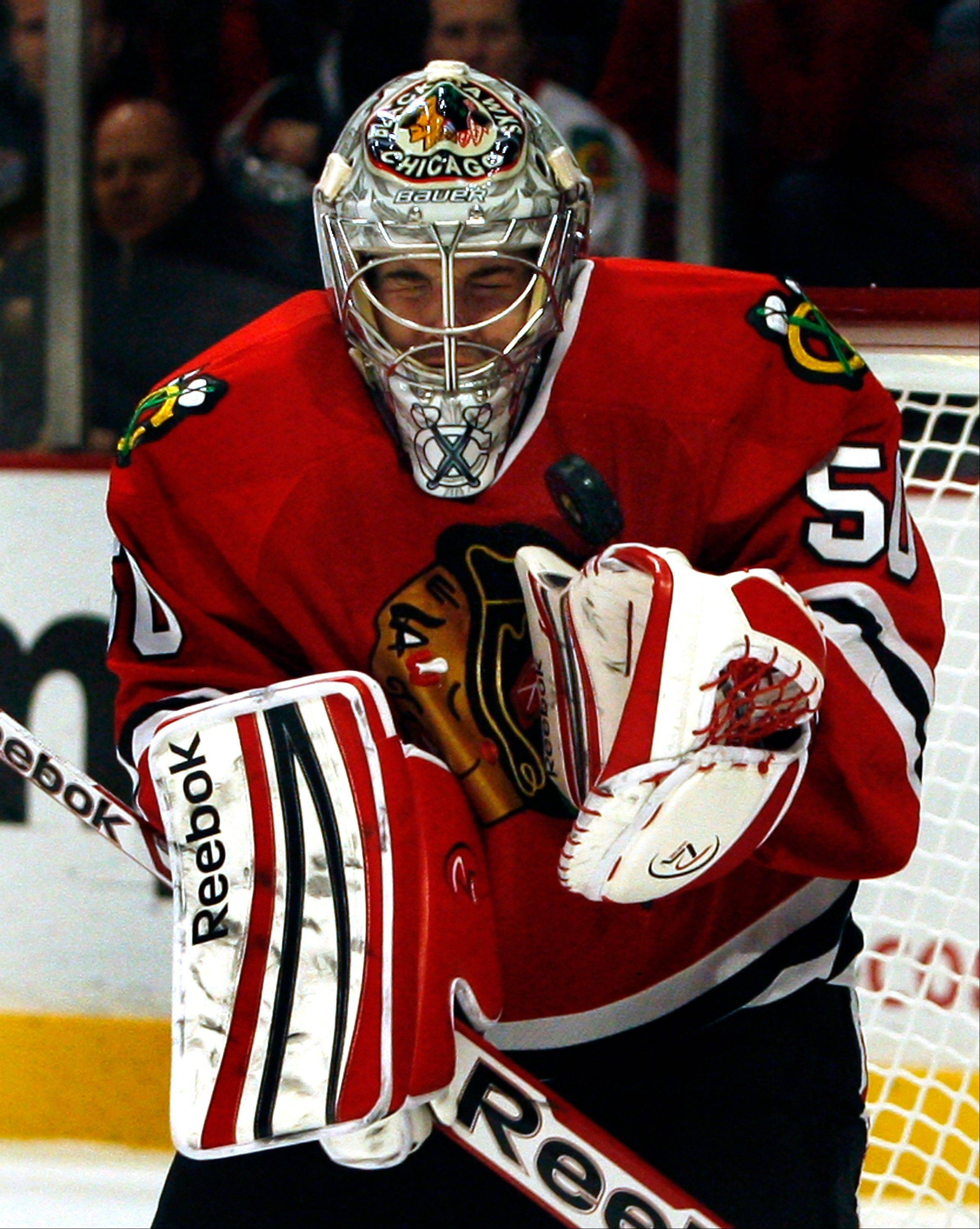 Goalie Corey Crawford and the Blackhawks might be setting all sorts of goals had this been a full NHL season.