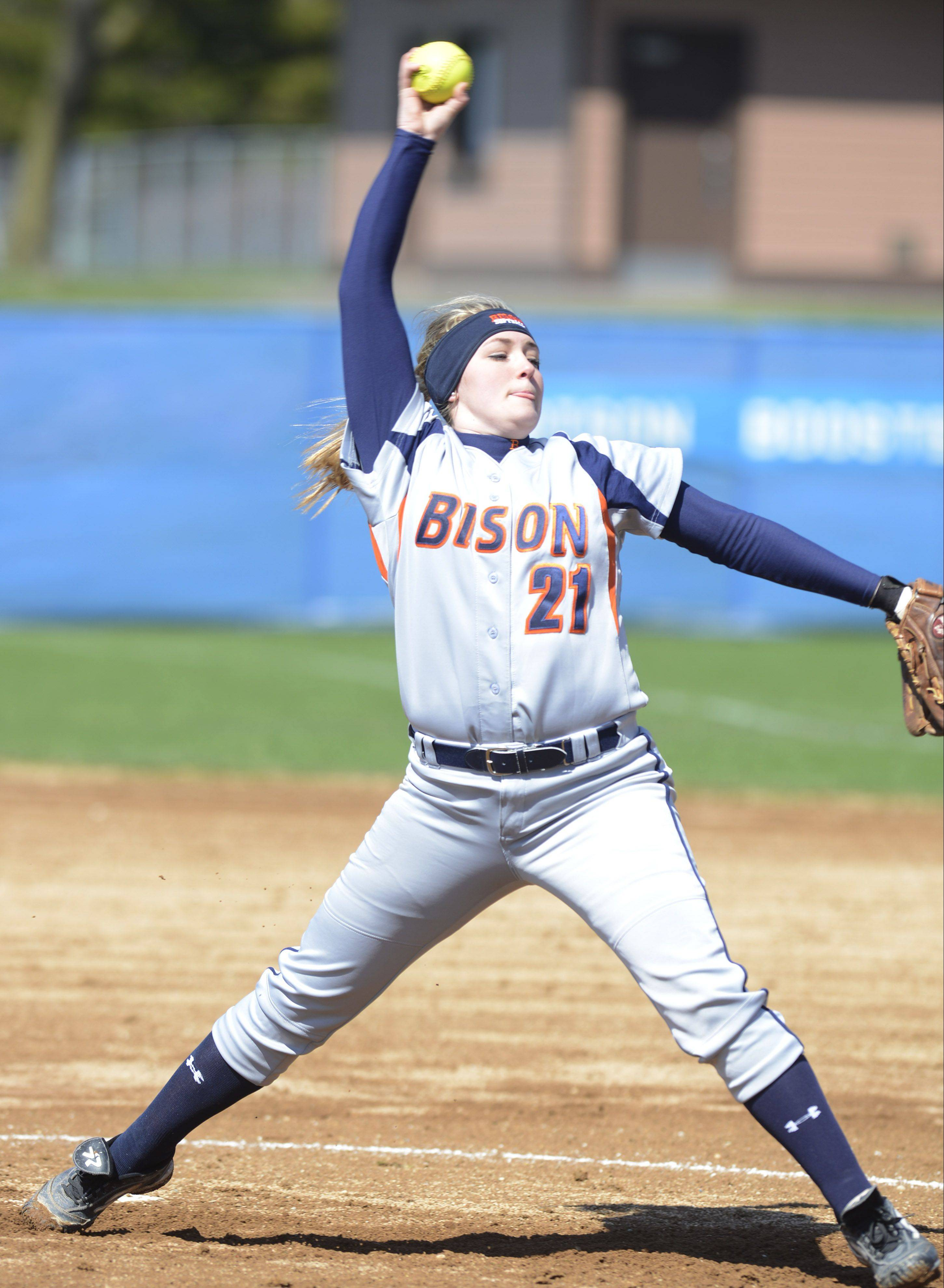 Buffalo Grove pitcher Julia Camardo makes a delivery against Elk Grove Saturday.