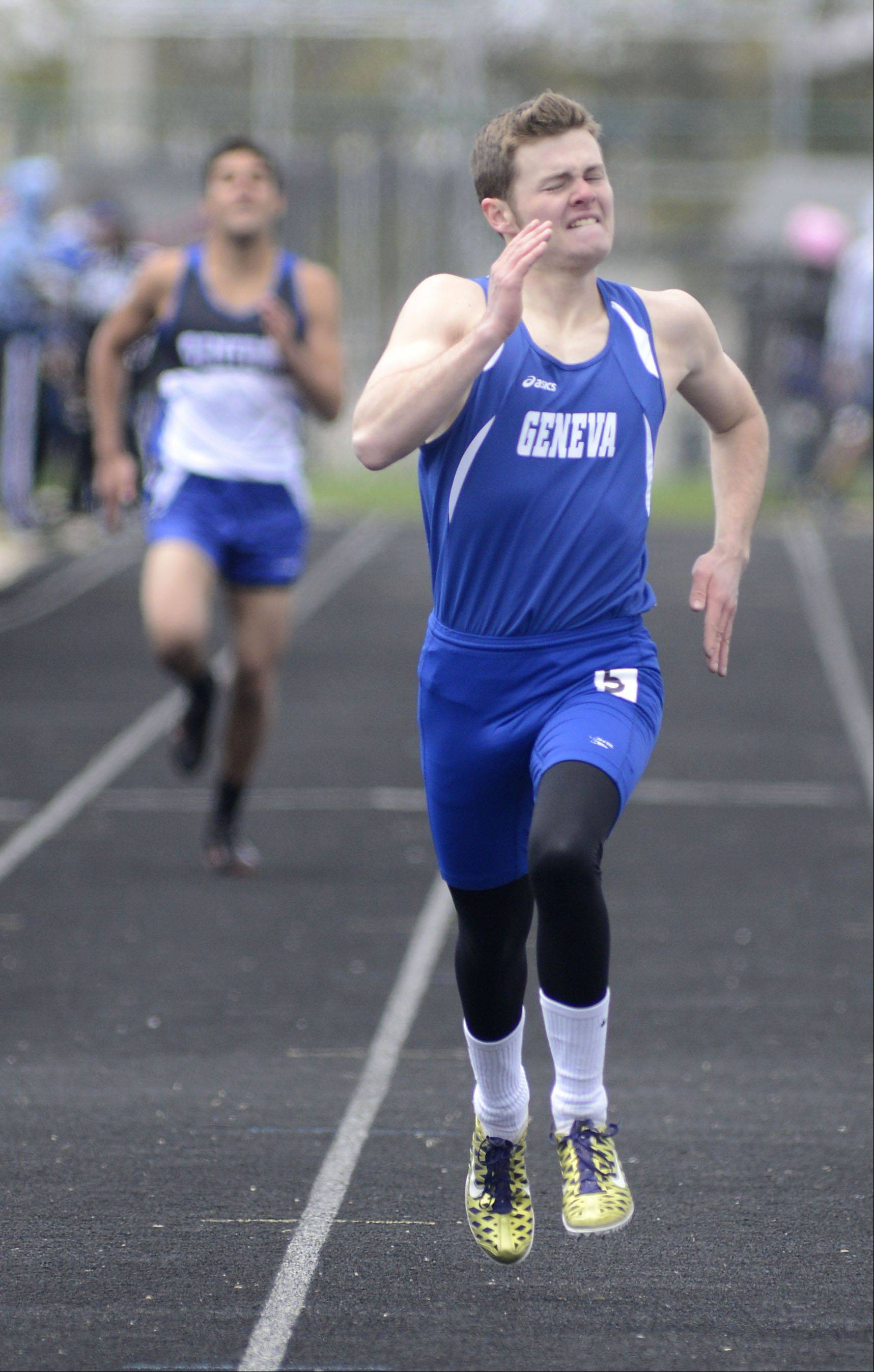 Geneva's Justin Davis in the 400 meter dash finals in the Kaneland meet on Saturday, April 20.
