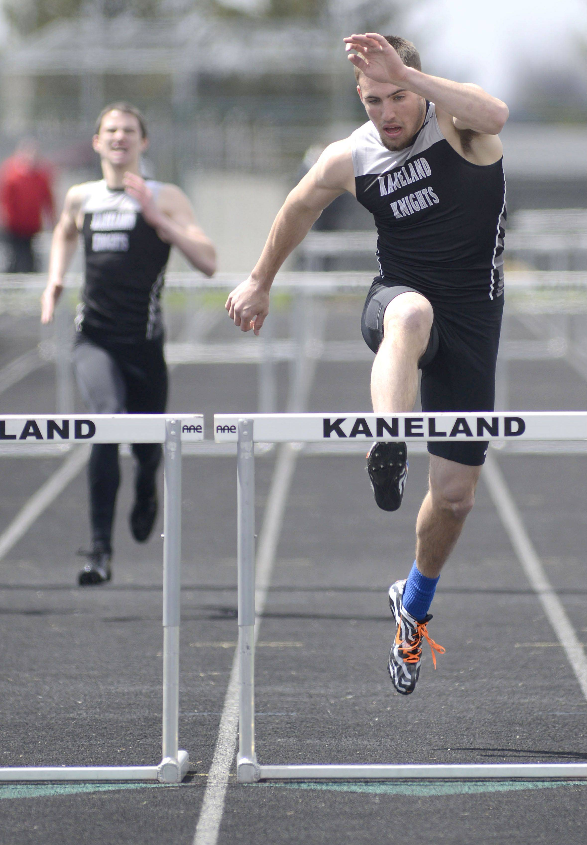 Kaneland's Dylan Nauert in the final heat of the 300 meter intermediate hurdles at the Kaneland meet on Saturday, April 20.
