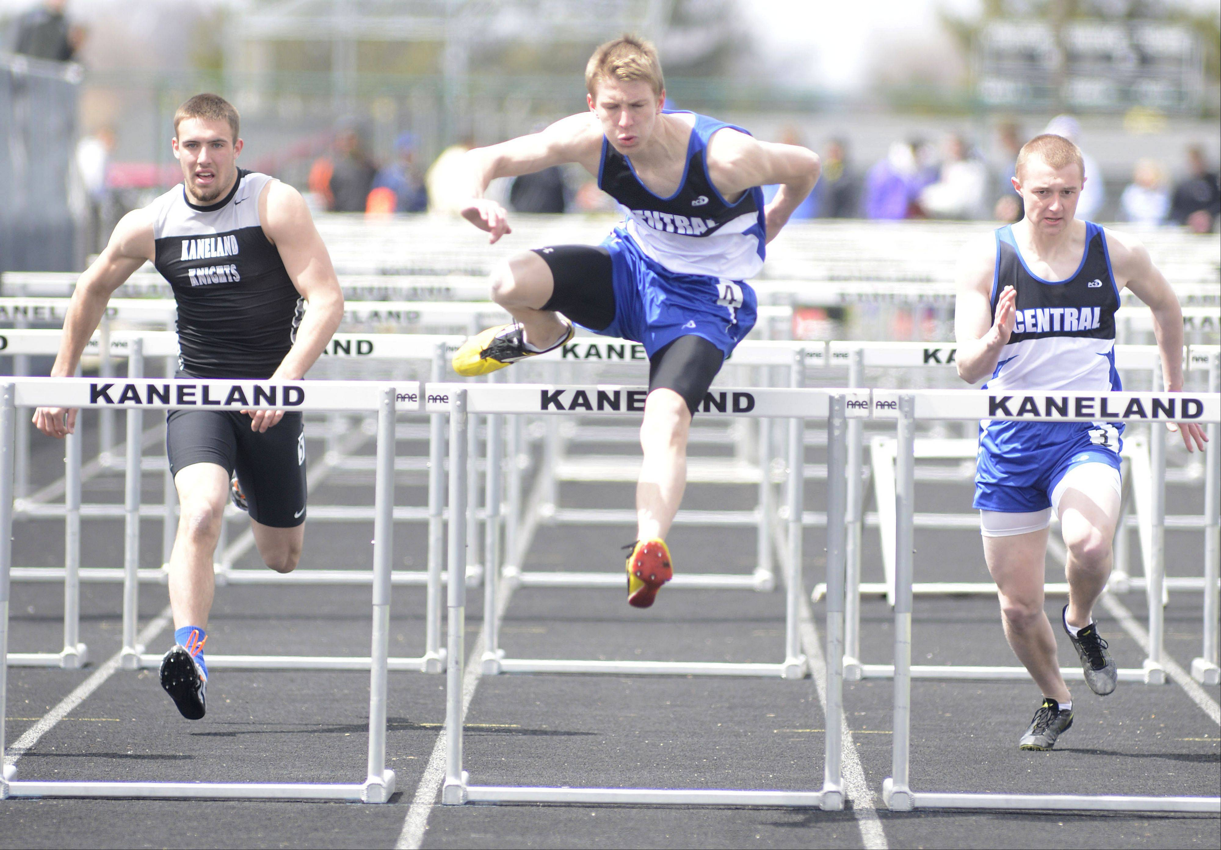 Burlington Central's Lucas Ege takes first in the 110-meter hurdles at Kaneland's Peterson Prep meet on Saturday.