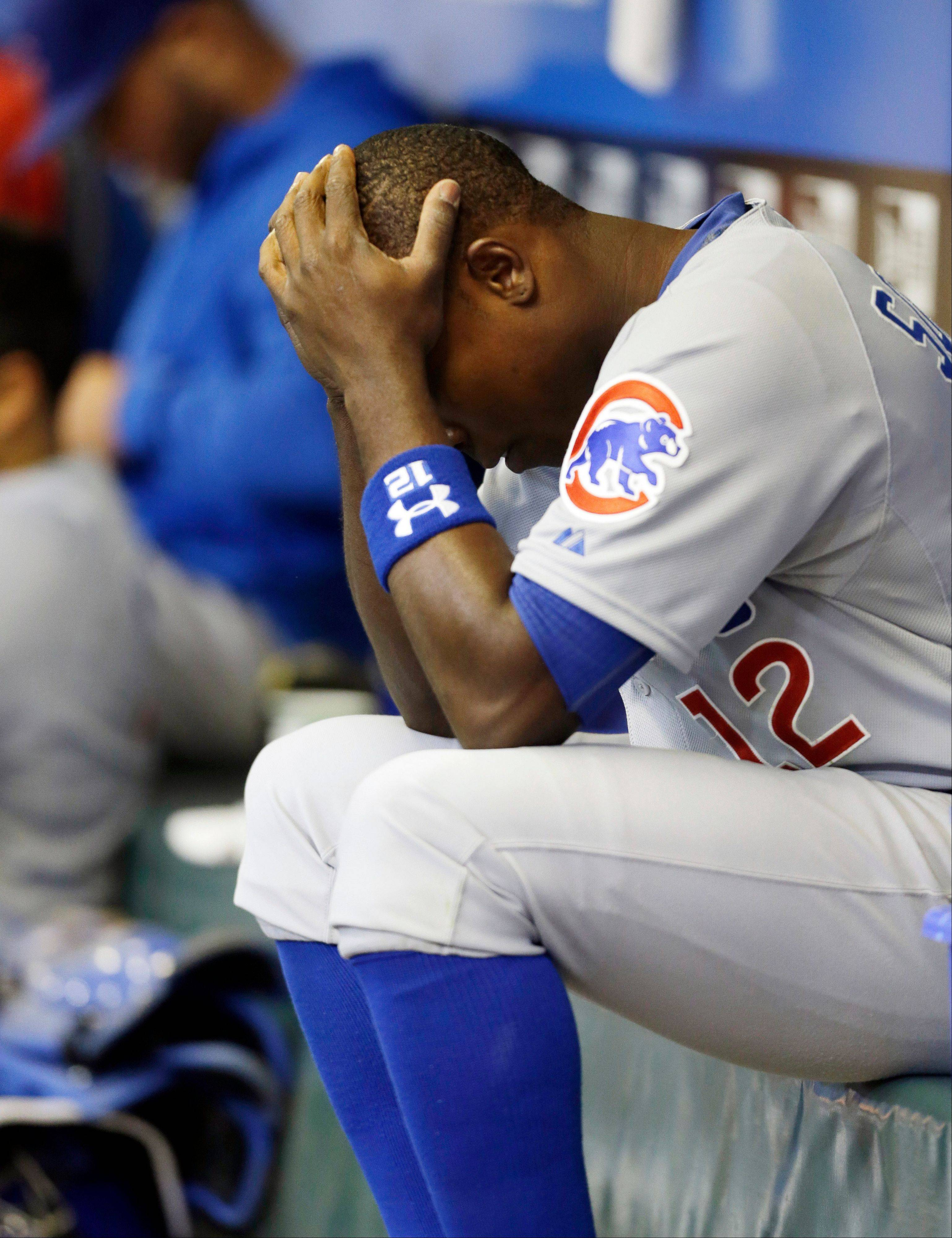 Chicago Cubs' Alfonso Soriano reacts in the dugout after the sixth inning of the game against the Milwaukee Brewers, Saturday in Milwaukee.