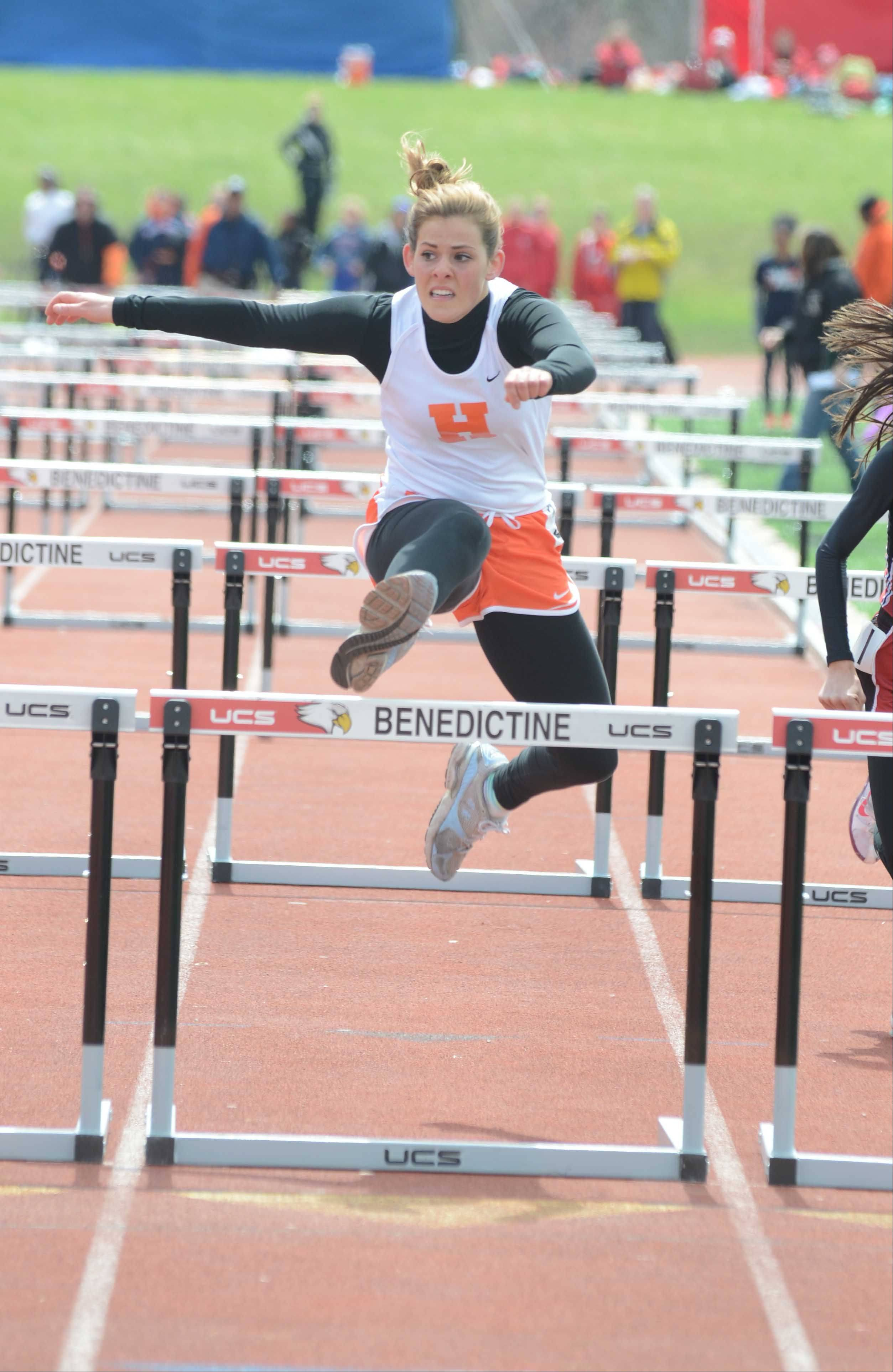 Michelle Brown of Hersey takes part in the 100 Meter Hurdles during the Sue Pariseau girls track invitational hosted by Glenbard West Saturday.