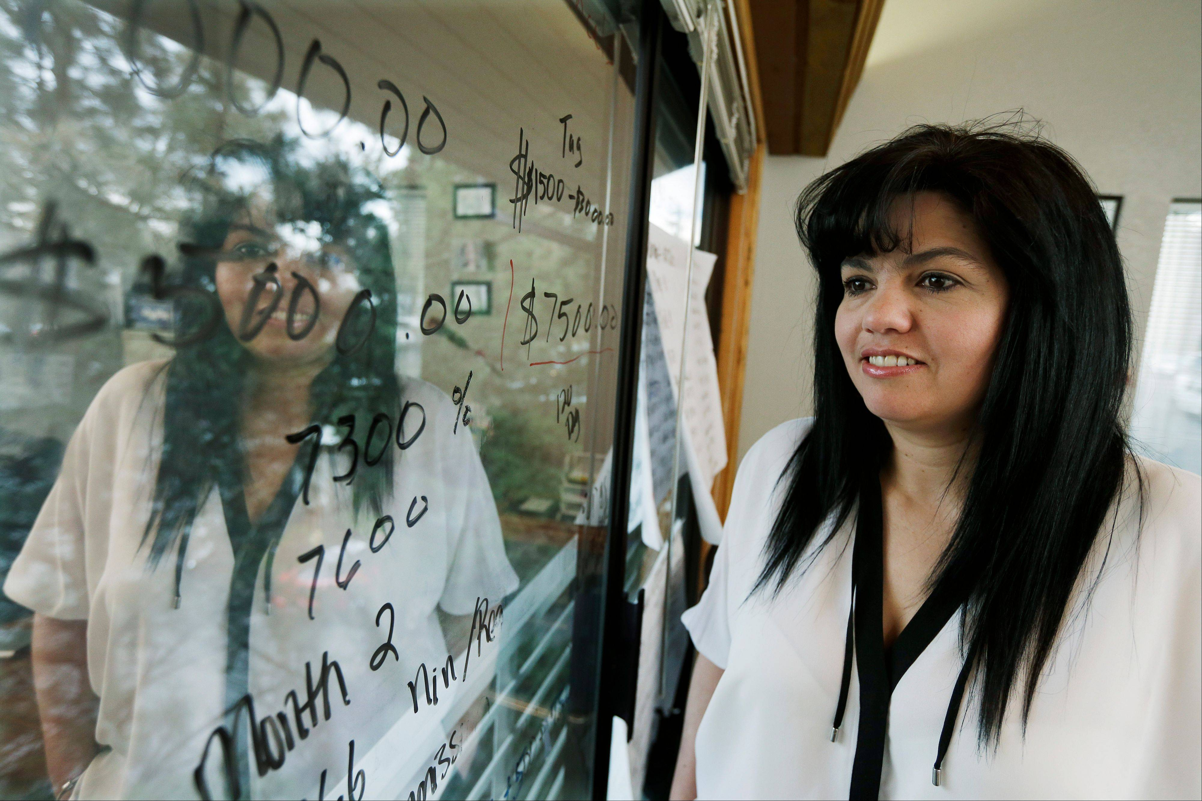 In this Monday, April 15, 2013, photo, Consuelo Gomez, of the facilities management company �Marty K� poses for a photo, in the company�s offices in Bellevue, Wash. When space on the company�s white boards is scarce in her small office, she sometimes uses the window to run the numbers of her small business.