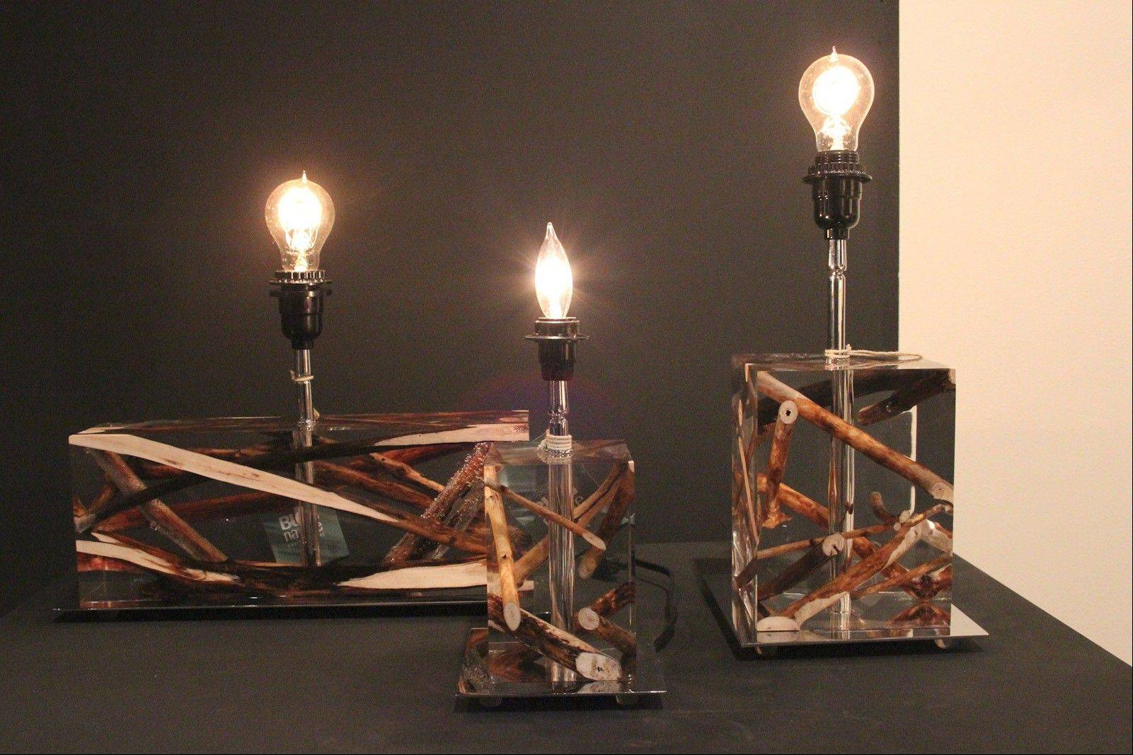 Memory Blocks designed by Bleu Nature: Table lamps with driftwood trapped in resin.