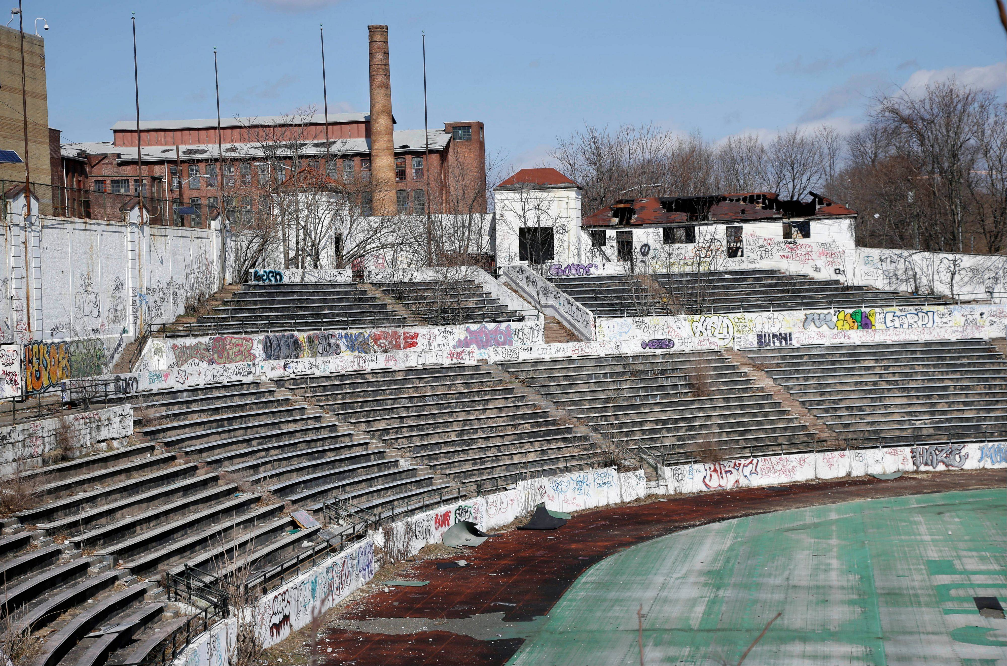 Graffiti covers the stands in Hinchliffe Stadium in Paterson, N.J. The once-grand Art Deco stadium earned designation in March as a national landmark.