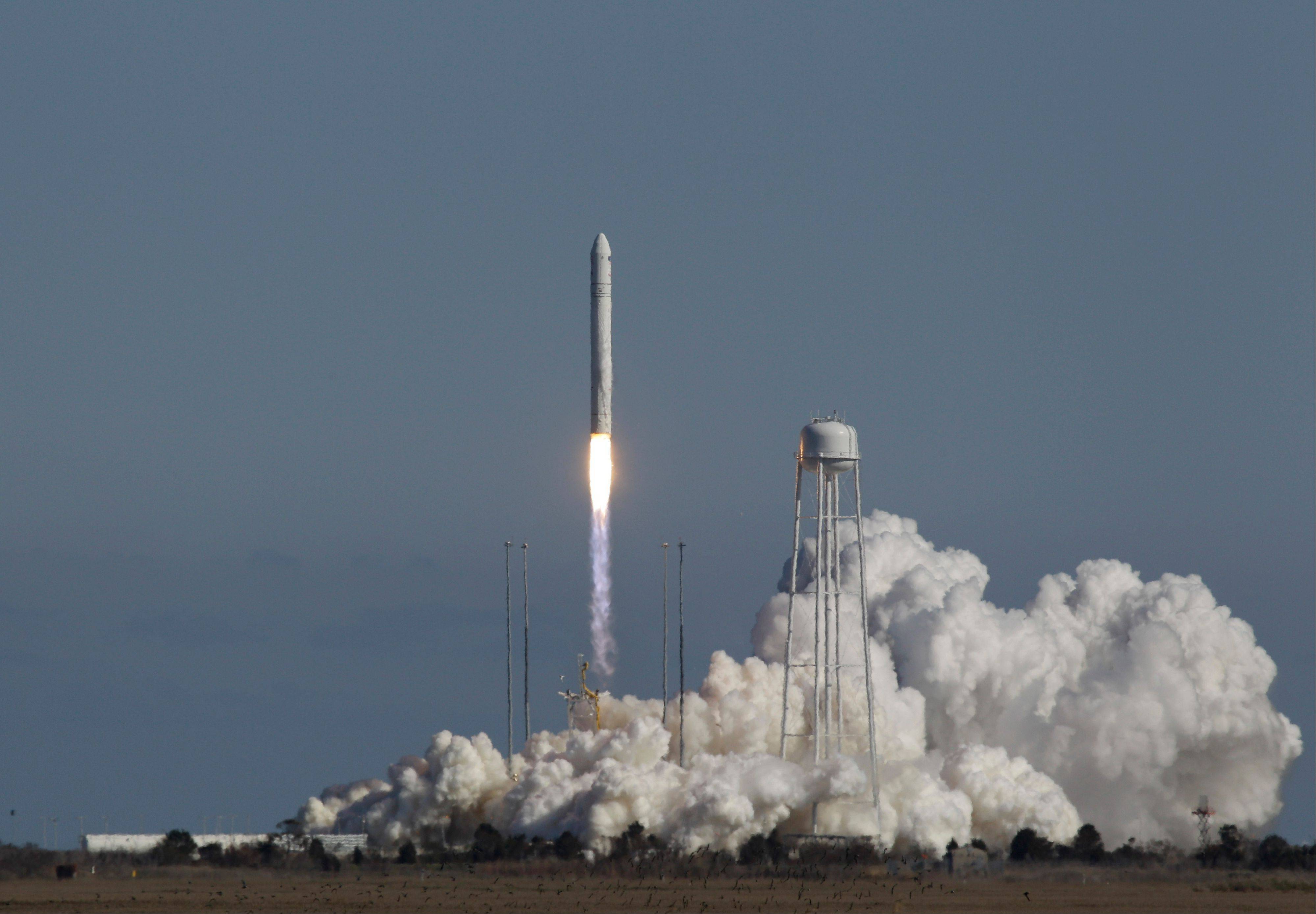 Orbital Sciences Corp.�s Antares rocket lifts off from the launchpad Sunday at the NASA facility on Wallops Island Va. The rocket will eventually deliver supplies to the International Space Station.