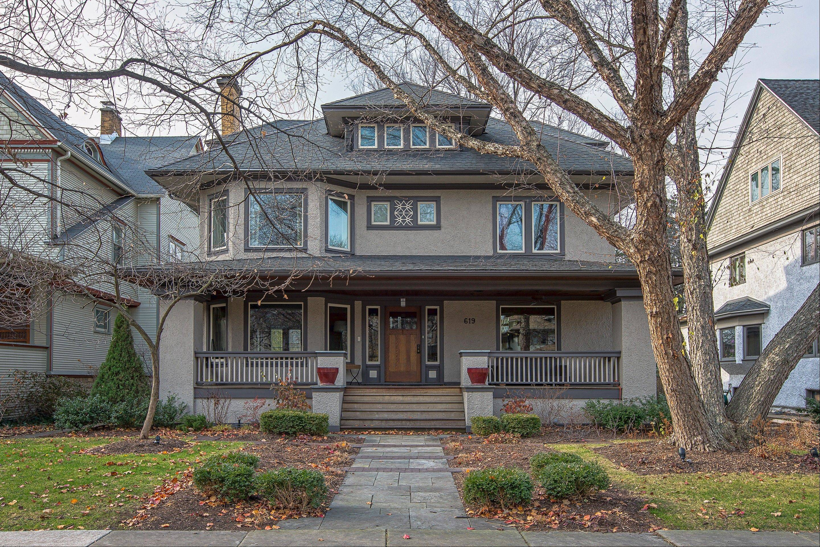 The Frank Keefer house (1906) is a Prairie-style house by architect E.E. Roberts.