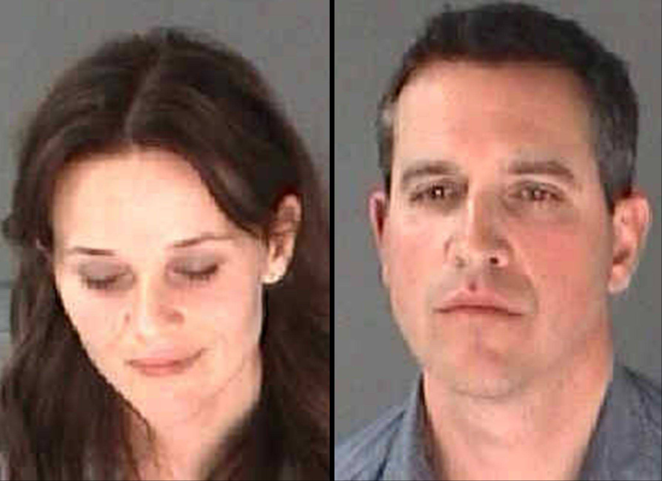 This combination of undated photo provided by the City of Atlanta Department of Corrections shows Reese Witherspoon, left, her husband, James Toth. The Oscar-winning actress was arrested on a disorderly conduct charge after a state trooper said she wouldn't stay in the car while Toth was given a field sobriety test in Atlanta.