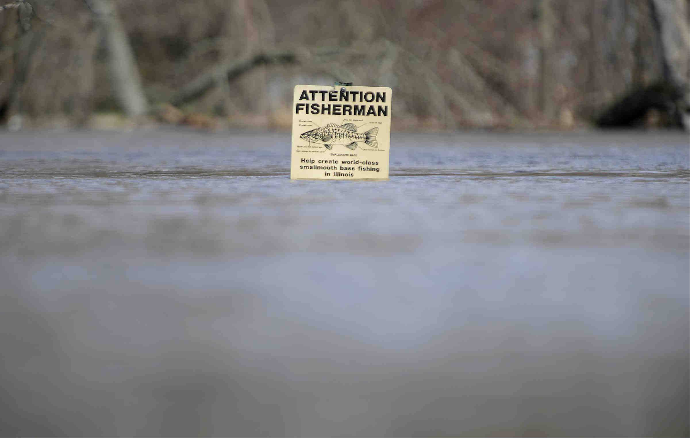 A sign for fisherman is almost underwater on the Fox River Sunday in Algonquin.
