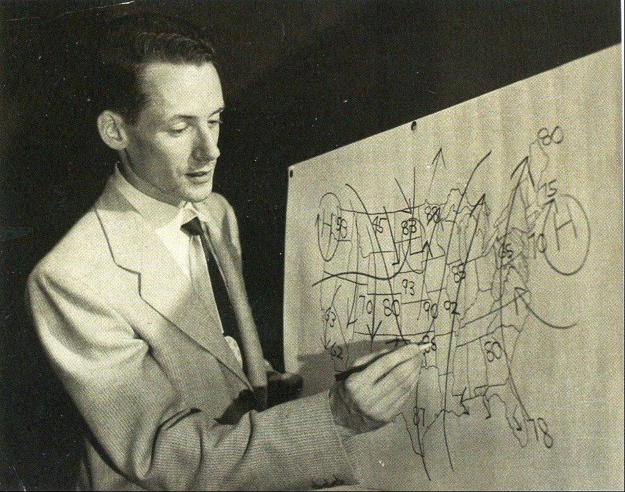 Using a grease pencil to complete his do-it-yourself weather map, a young Harry Volkman relied on his good memory to give viewers the weather details during his first TV gig in the 1950s at KOTV in Tulsa, Okla.