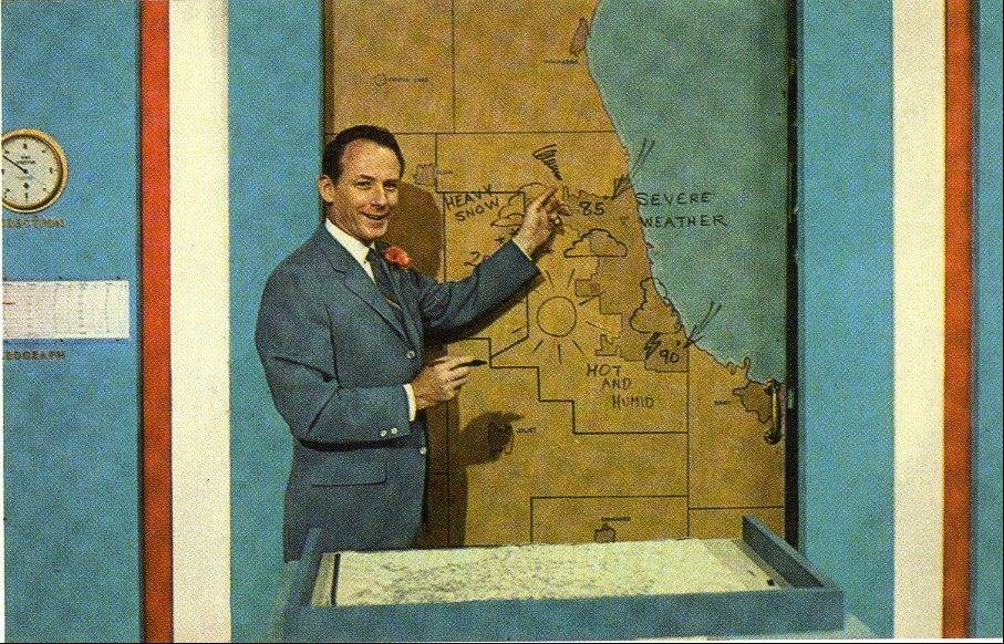 "Smiling for this publicity postcard during one of his stints with WGN-TV, meteorologist Harry Volkman notes that fans who studied it closely would see that the map jokingly predicts ""heavy snow"" with a temperature of 85 degrees."