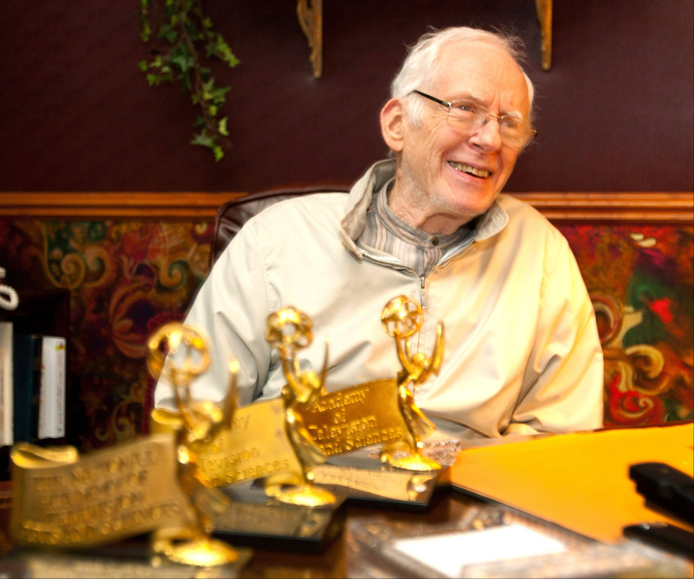 Harry Volkman, sitting behind a trio of Emmy Awards he won for his weather broadcasts, inspired generations of meteorologists. One of his fans was 13-year-old Tom Skilling of Aurora, who grew up to be the next king of Chicago weather forecasters.