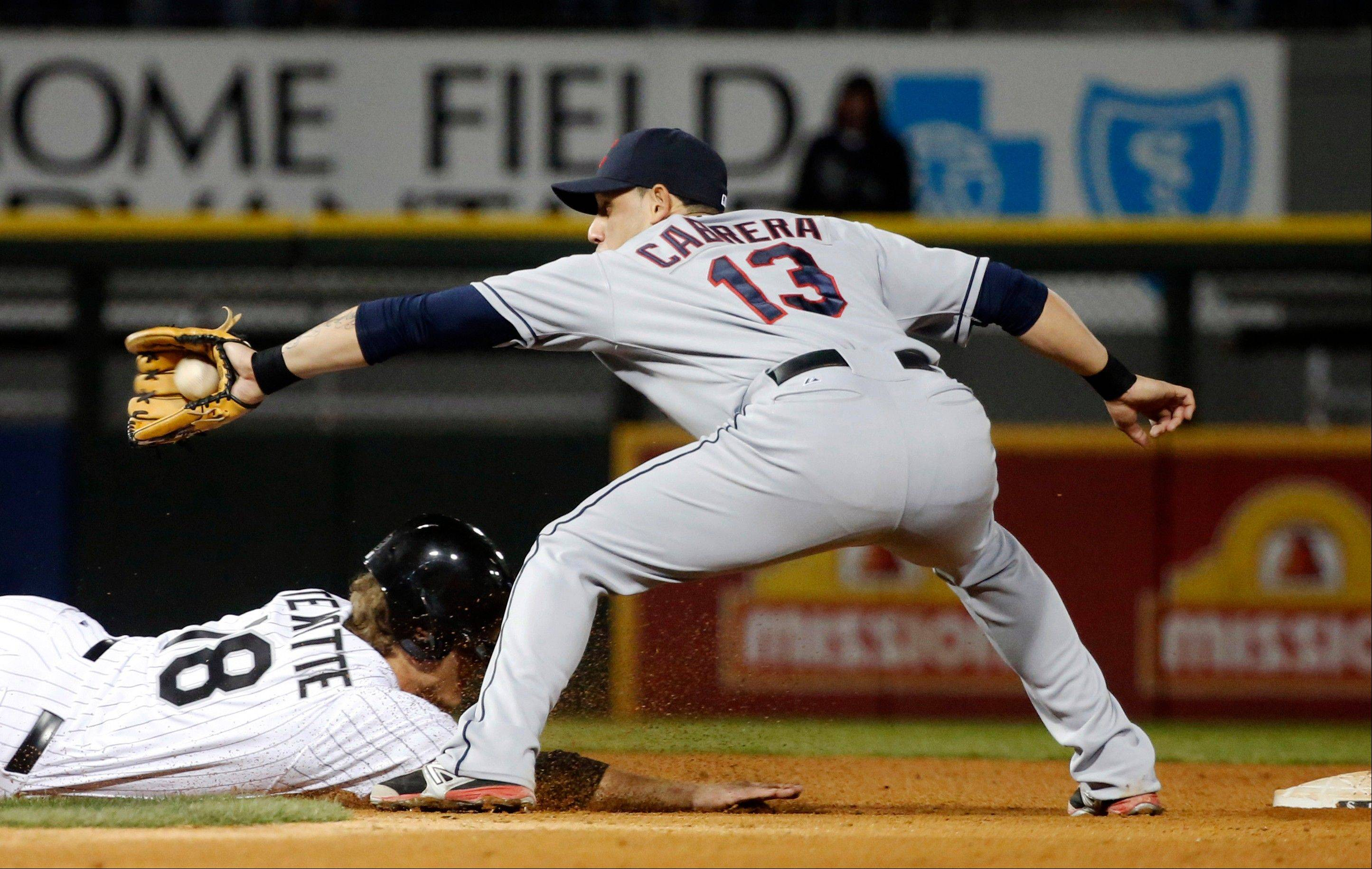 White Sox pinch runner Blake Tekotte is picked off second base as Indians shortstop Asdrubal Cabrera takes the throw in the seventh inning Monday at U.S. Cellular Field.
