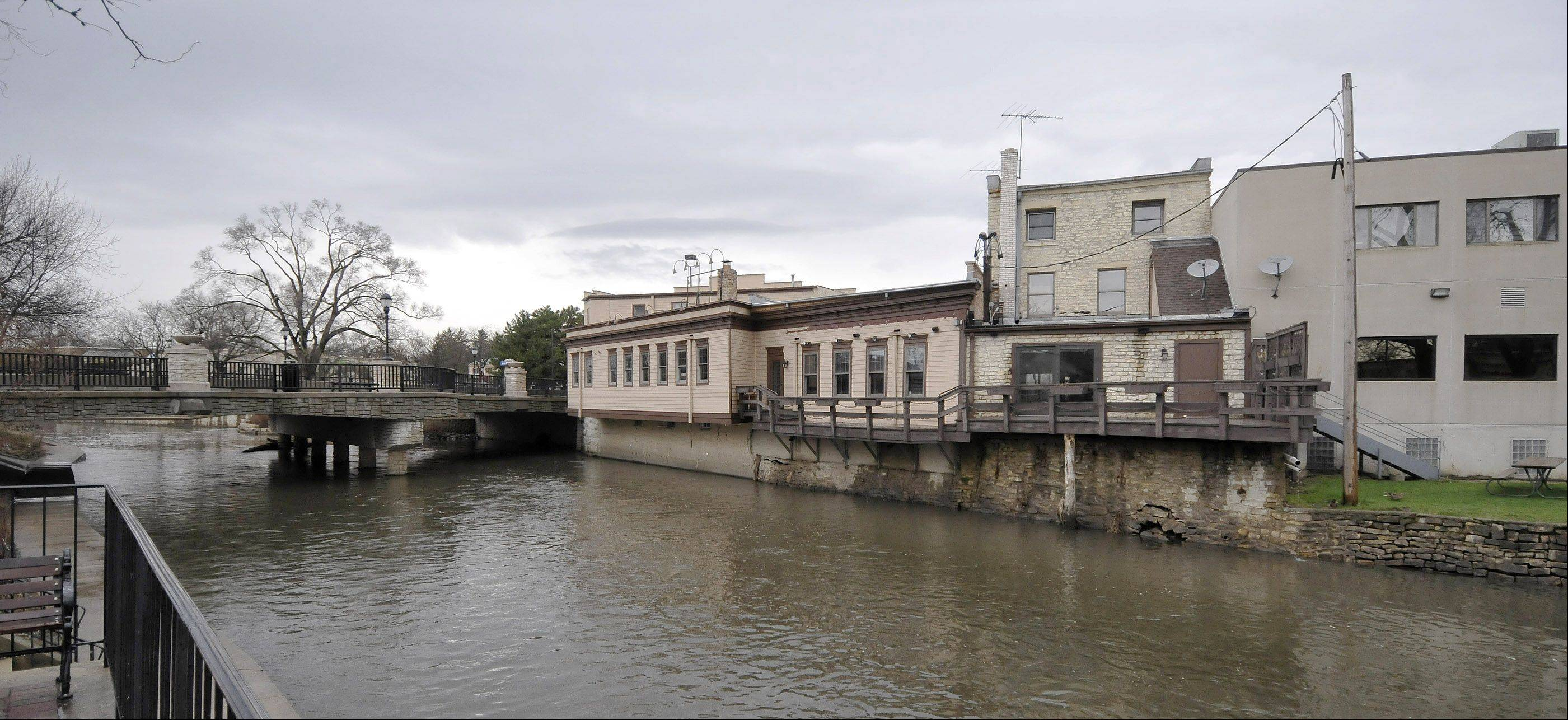 Ballydoyle owners hope to turn this view of the rear exterior along the DuPage River into a vibrant dining and drinking spot.